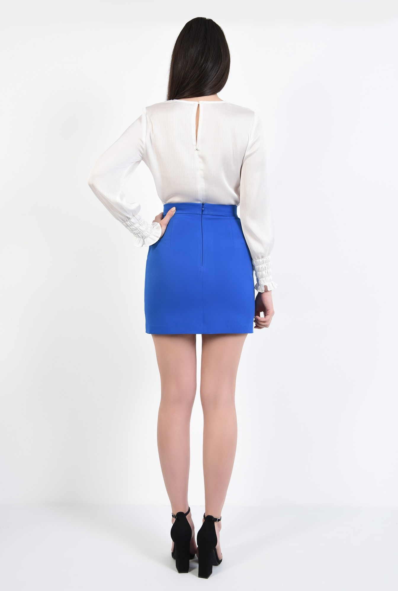 0 - fusta de zi, talie cu betelie, lungime mini, fuste online