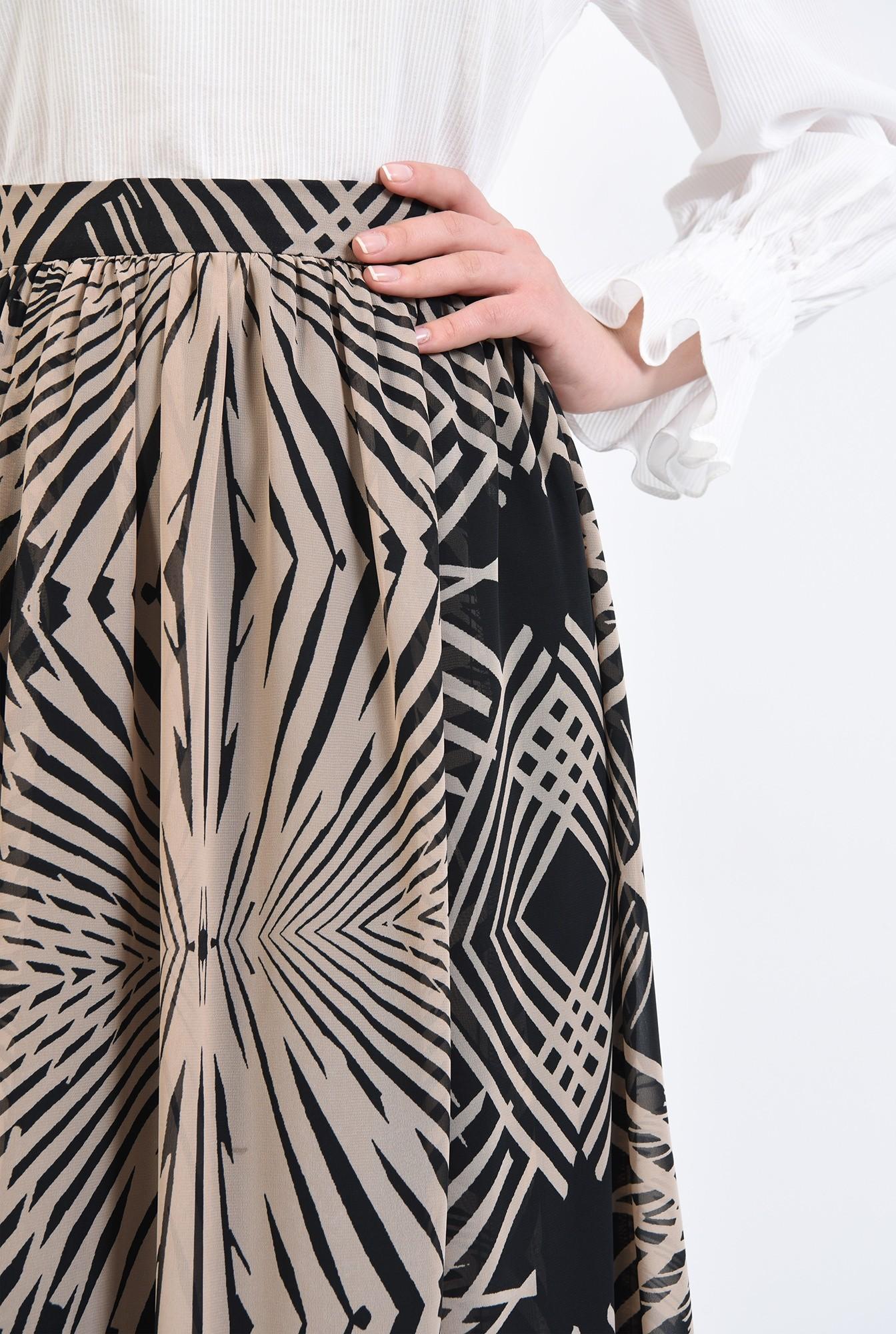 2 - 360 - fusta casual, midi, evazata, cu talie inalta, imprimeu abstract