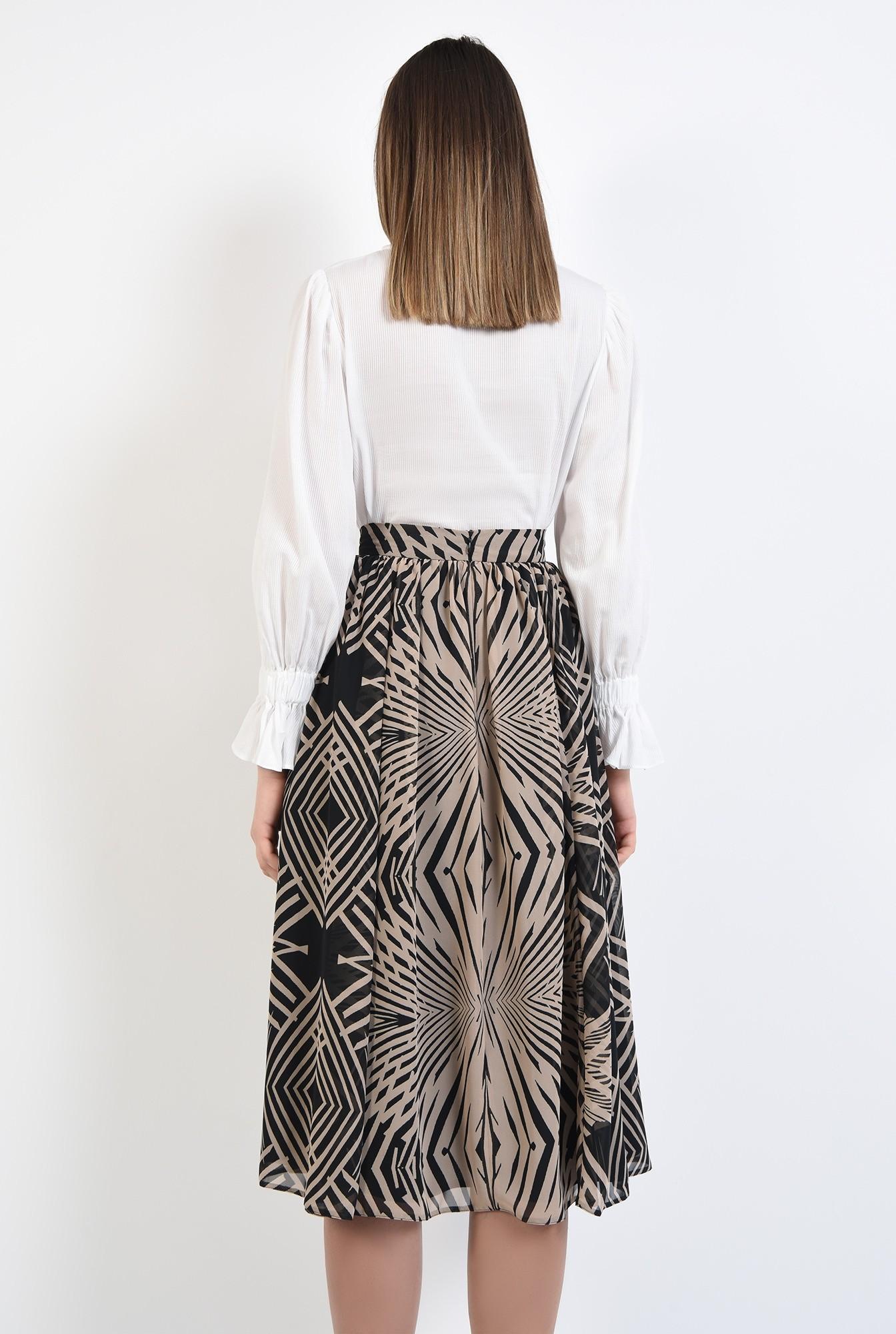 1 - 360 - fusta casual, midi, evazata, cu talie inalta, imprimeu abstract