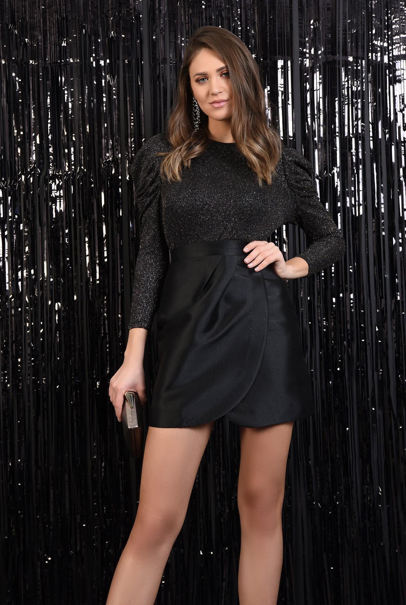0 - 360 - fusta eleganta, petrecuta, croi drept cu drapaj, neagra