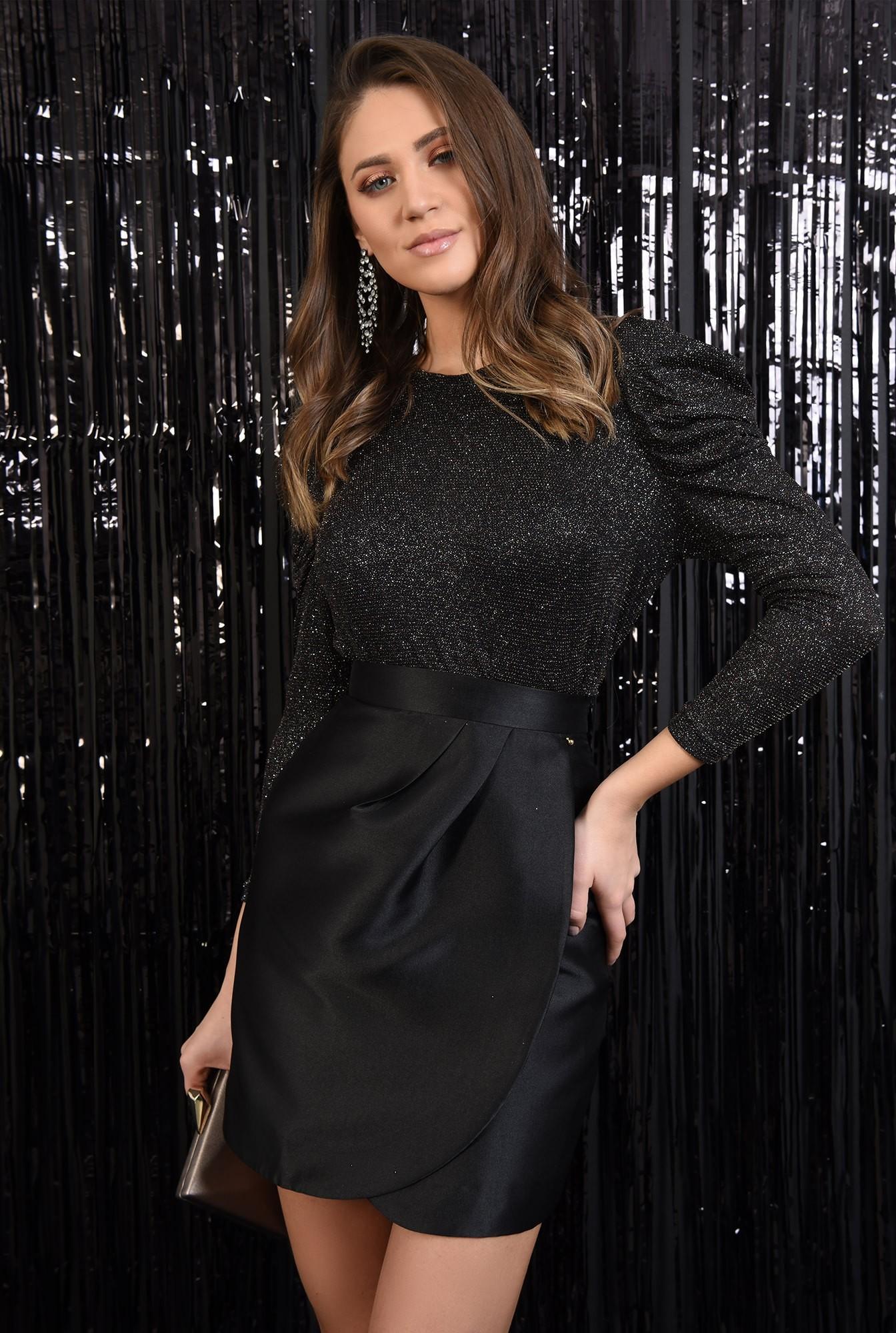2 - 360 - fusta eleganta, petrecuta, croi drept cu drapaj, neagra