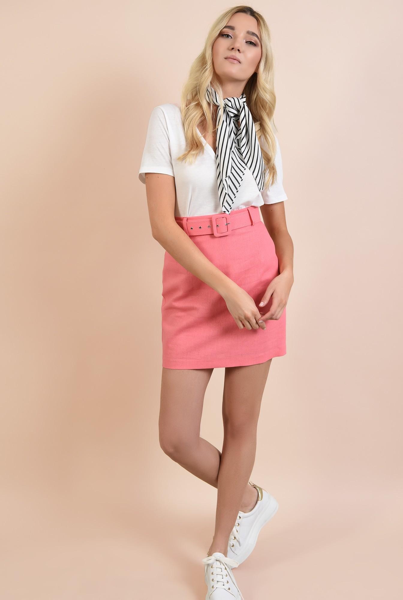 3 - fusta casual, mini, cu talie inalta, din in, roz
