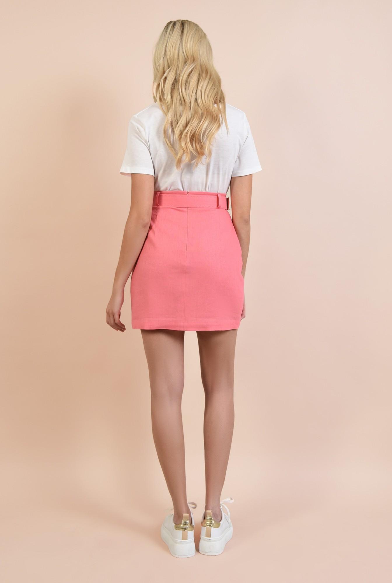 1 - fusta casual, mini, cu talie inalta, din in, roz