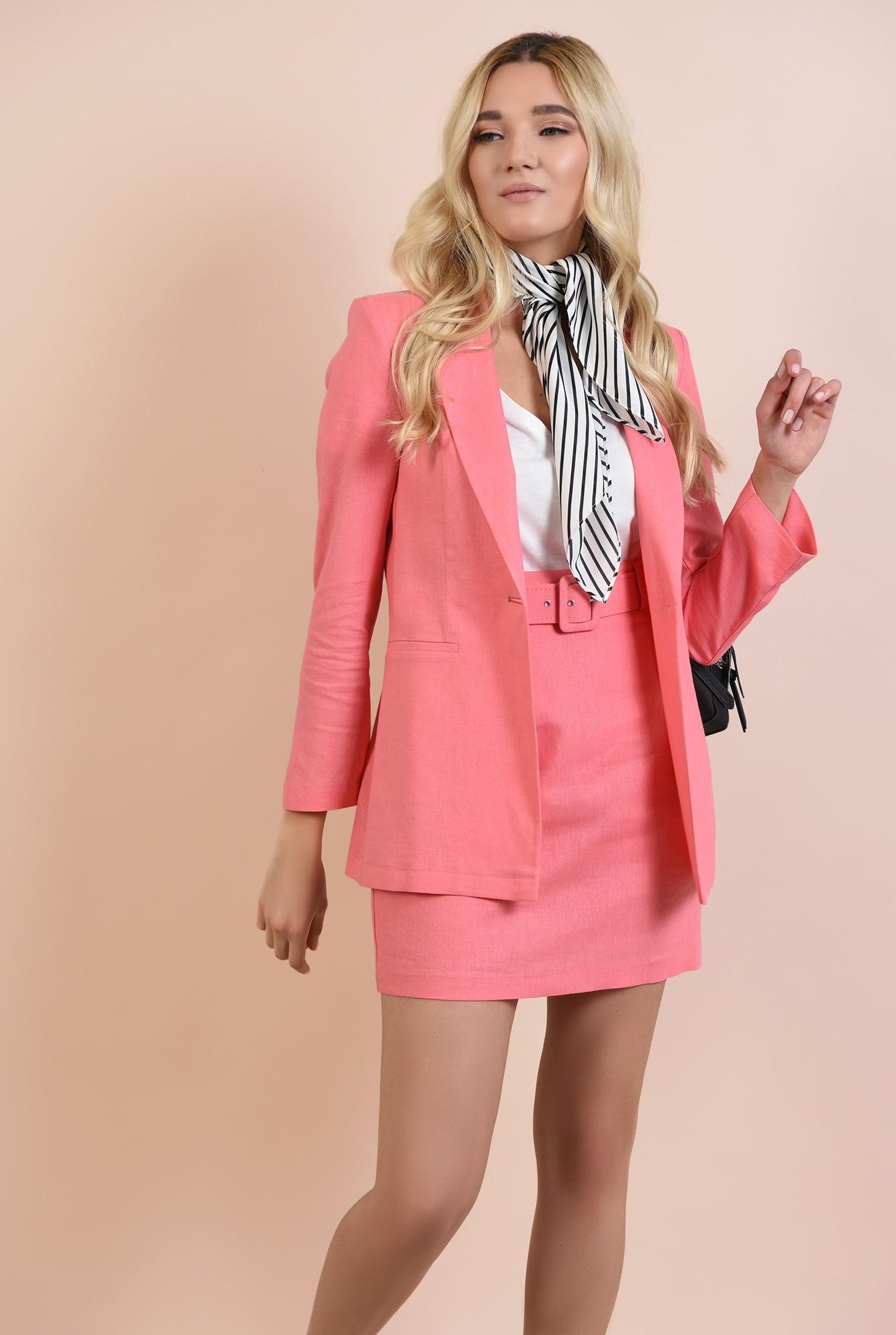 0 - fusta casual, mini, cu talie inalta, din in, roz