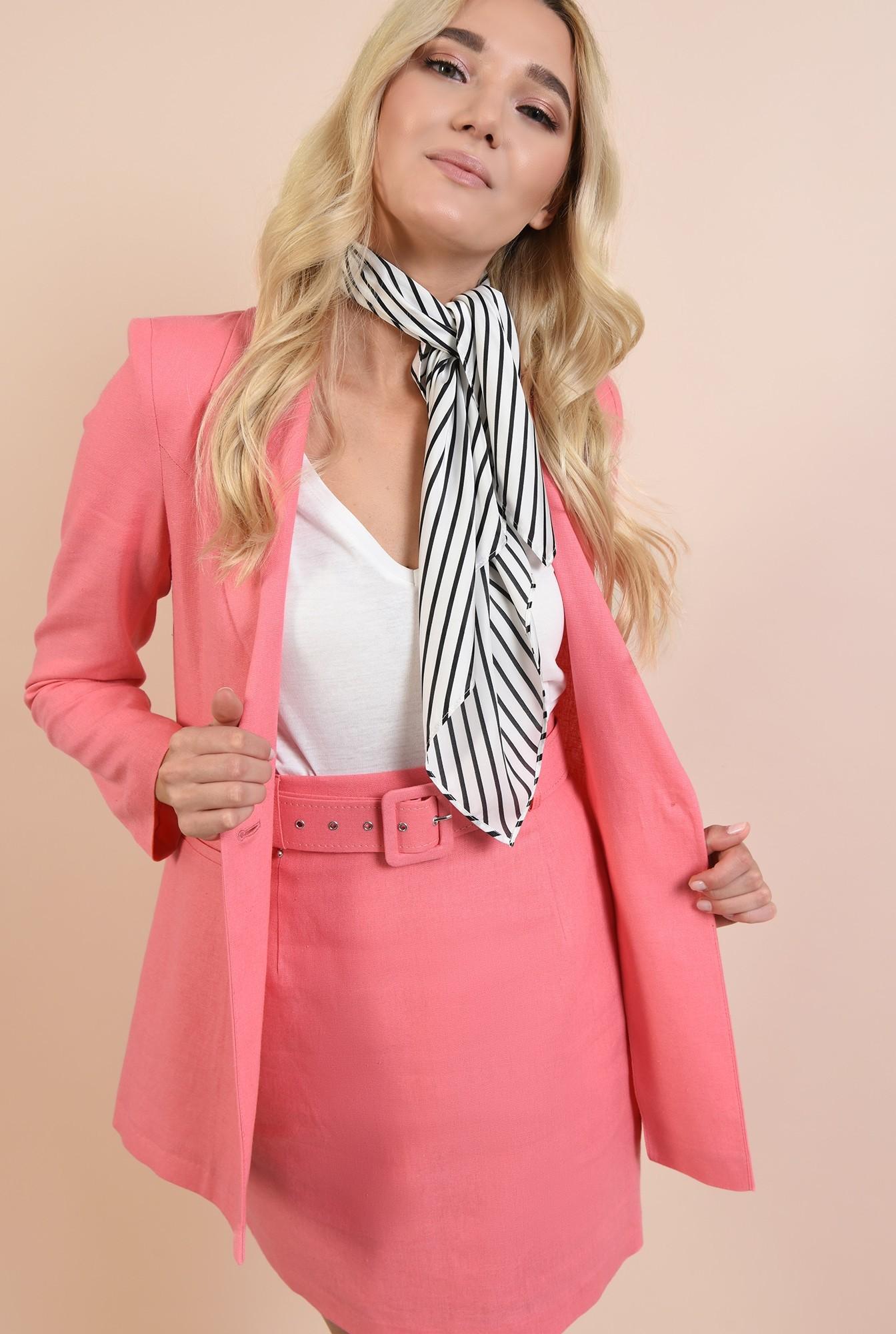 2 - fusta casual, mini, cu talie inalta, din in, roz