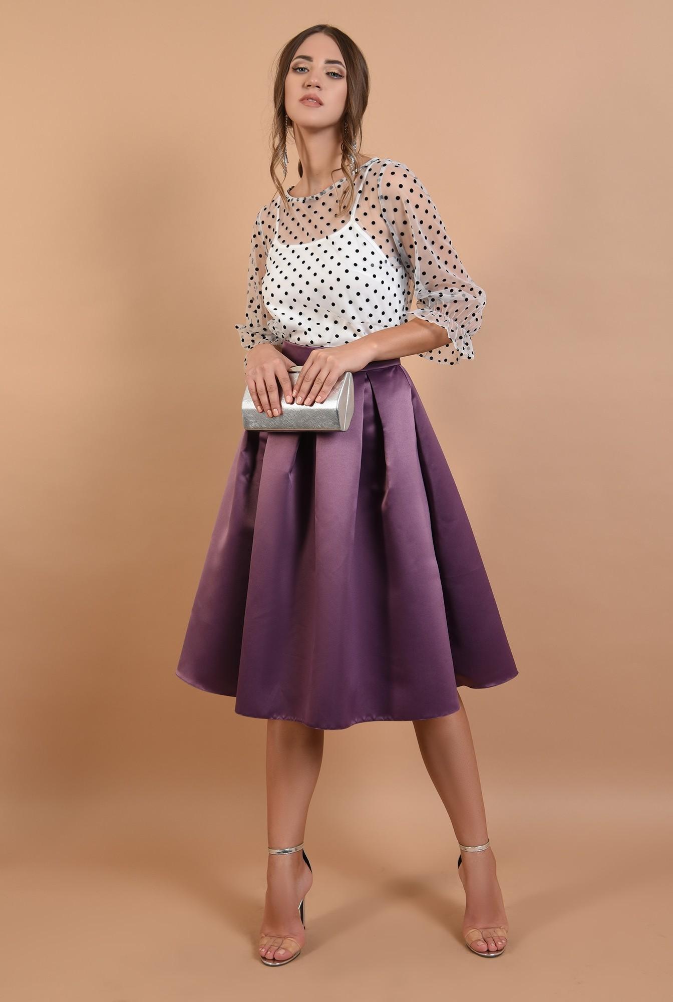 3 - fusta eleganta, Poema, din tafta, pliseuri panou, cu talie inalta