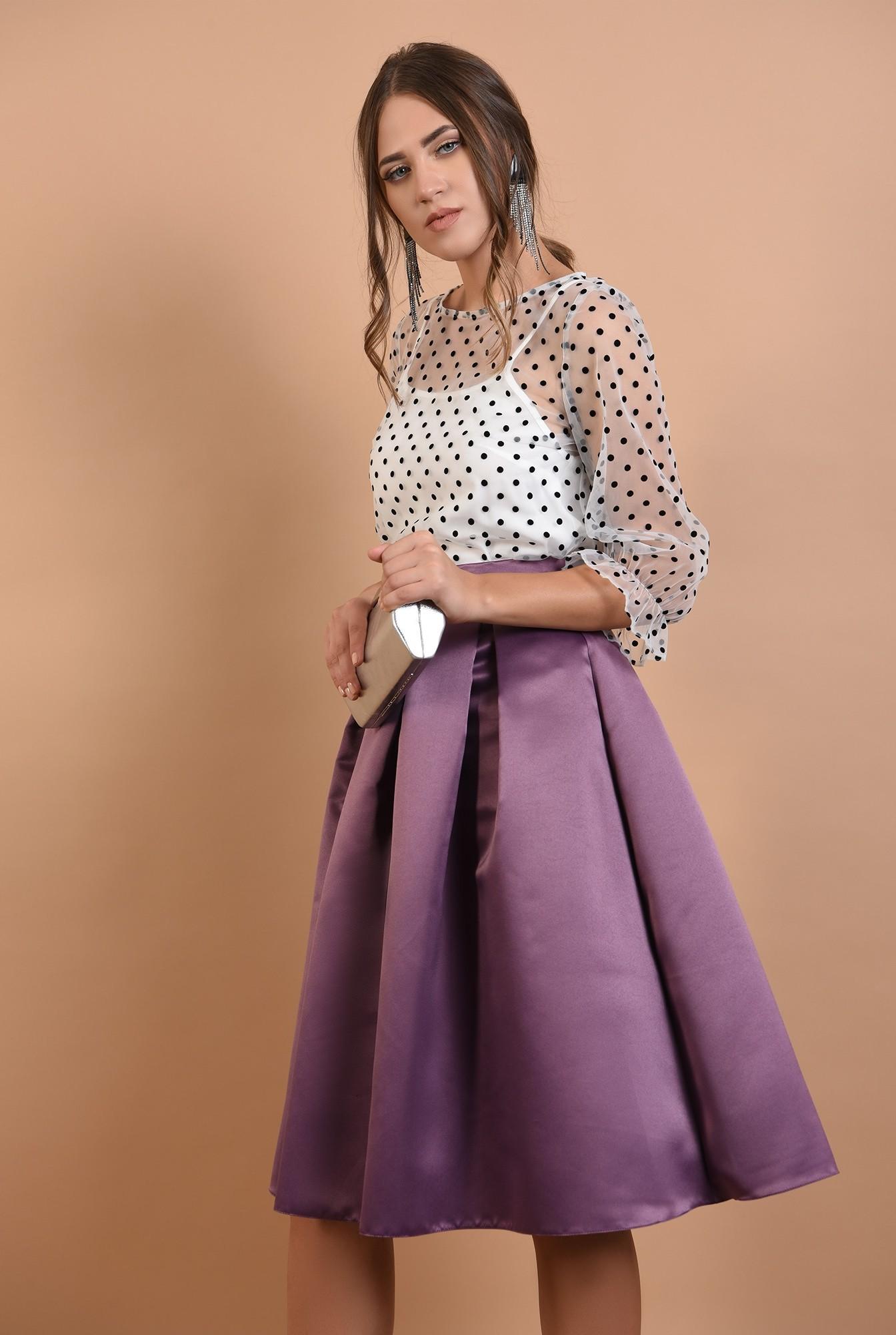 2 - fusta eleganta, Poema, din tafta, pliseuri panou, cu talie inalta