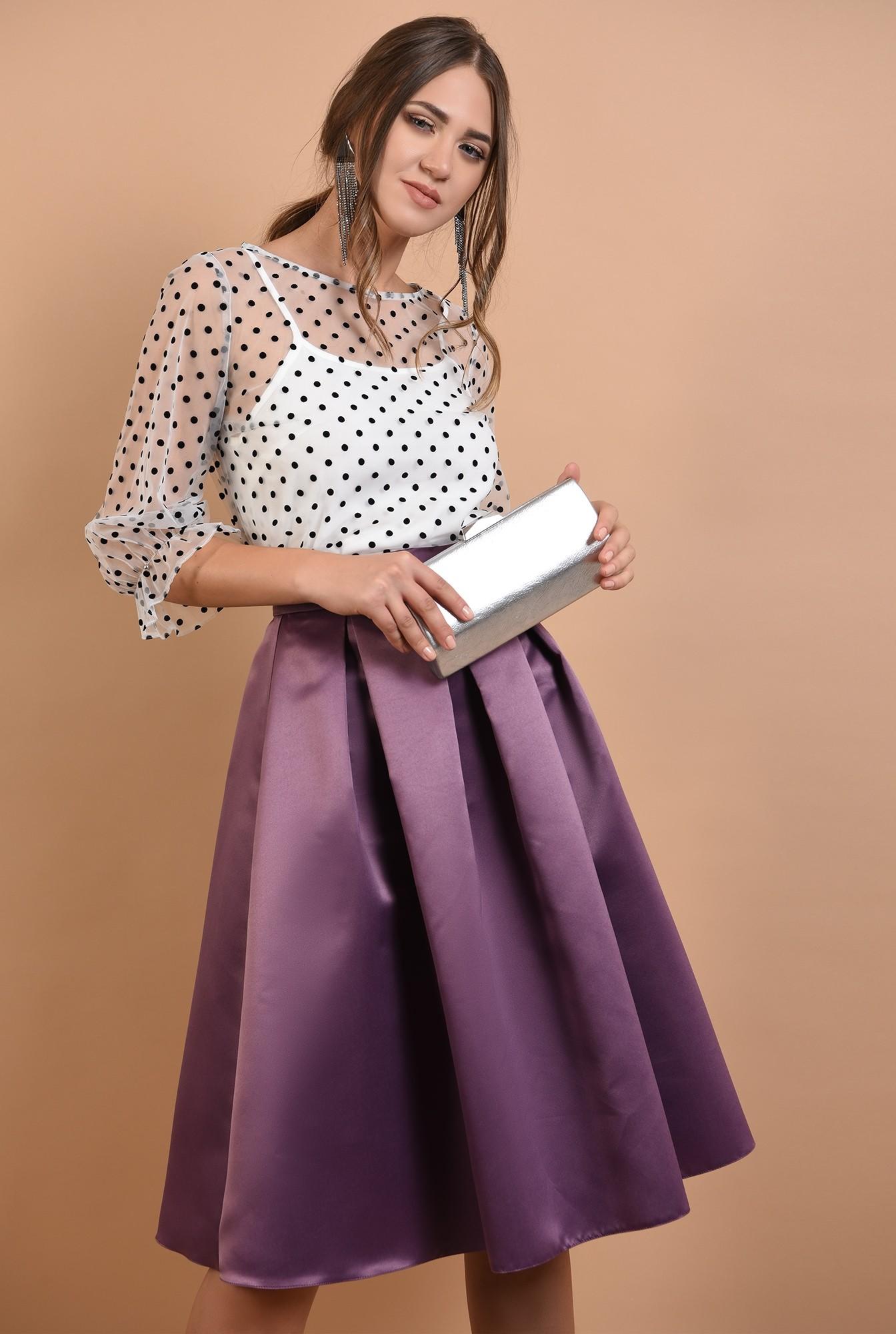 0 - fusta eleganta, Poema, din tafta, pliseuri panou, cu talie inalta