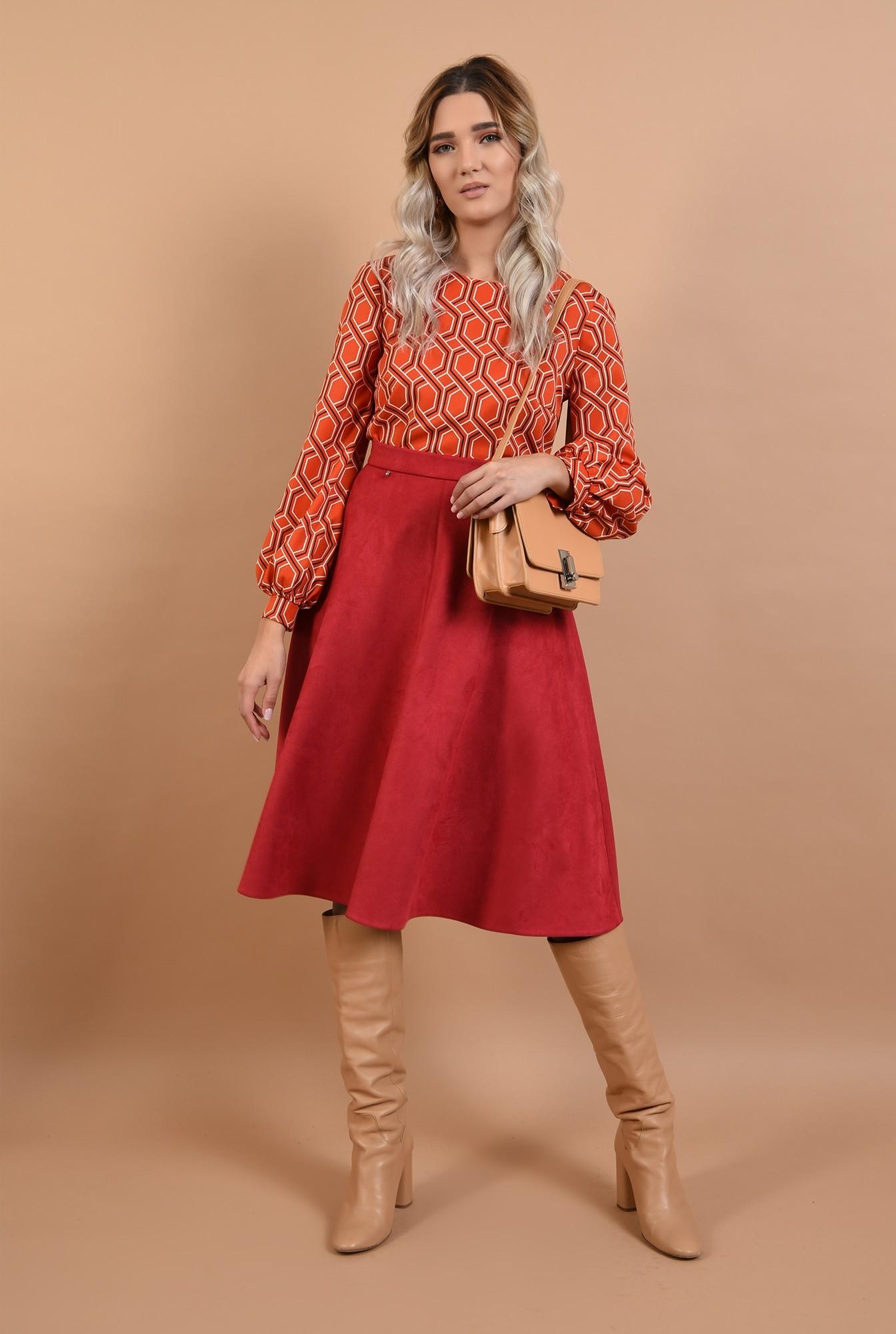 3 - fusta din piele, velur, rosie, midi, clos, Poema