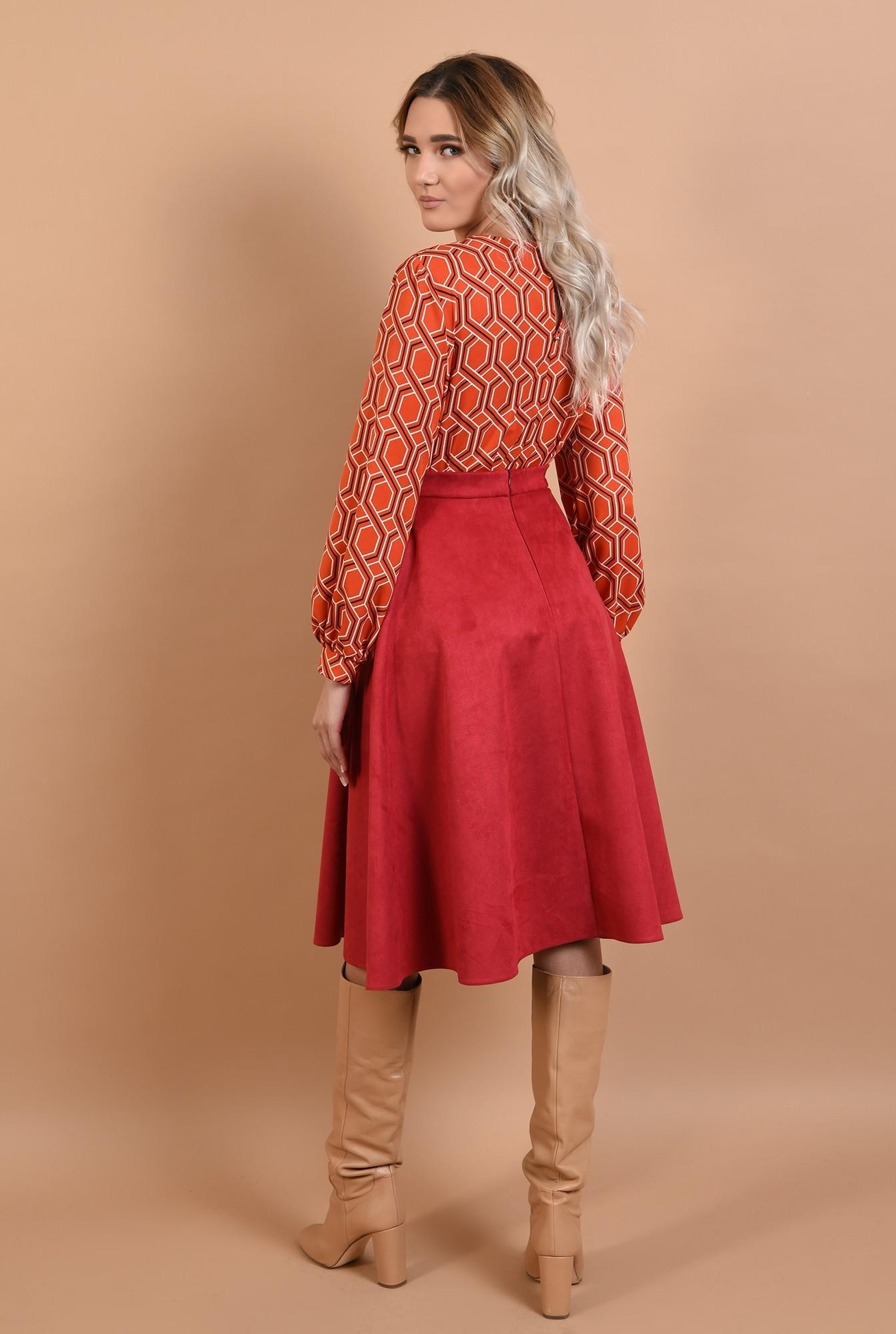 1 - fusta din piele, velur, rosie, midi, clos, Poema