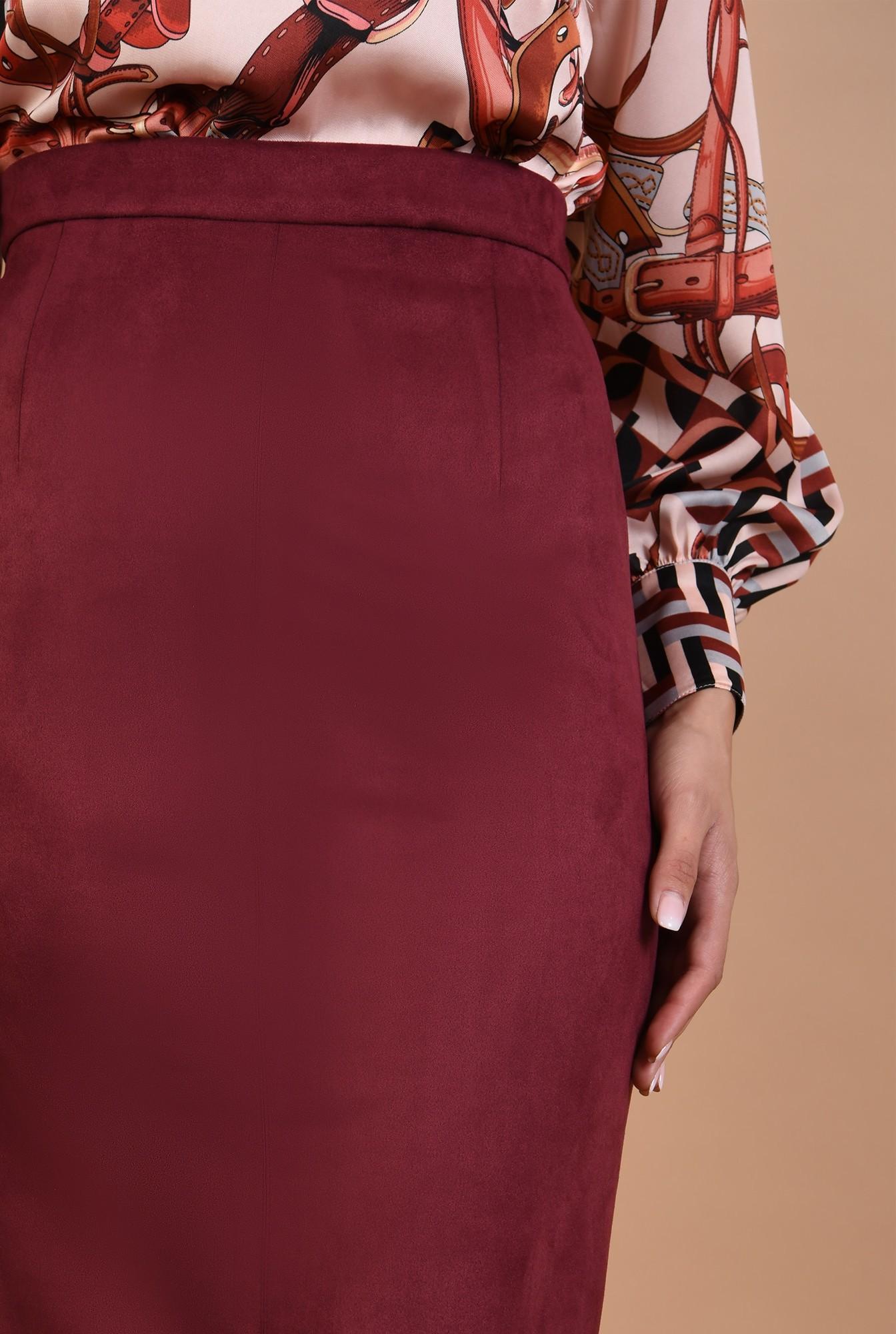 2 - fuste online, fusta de toamna, piele intoarsa, midi