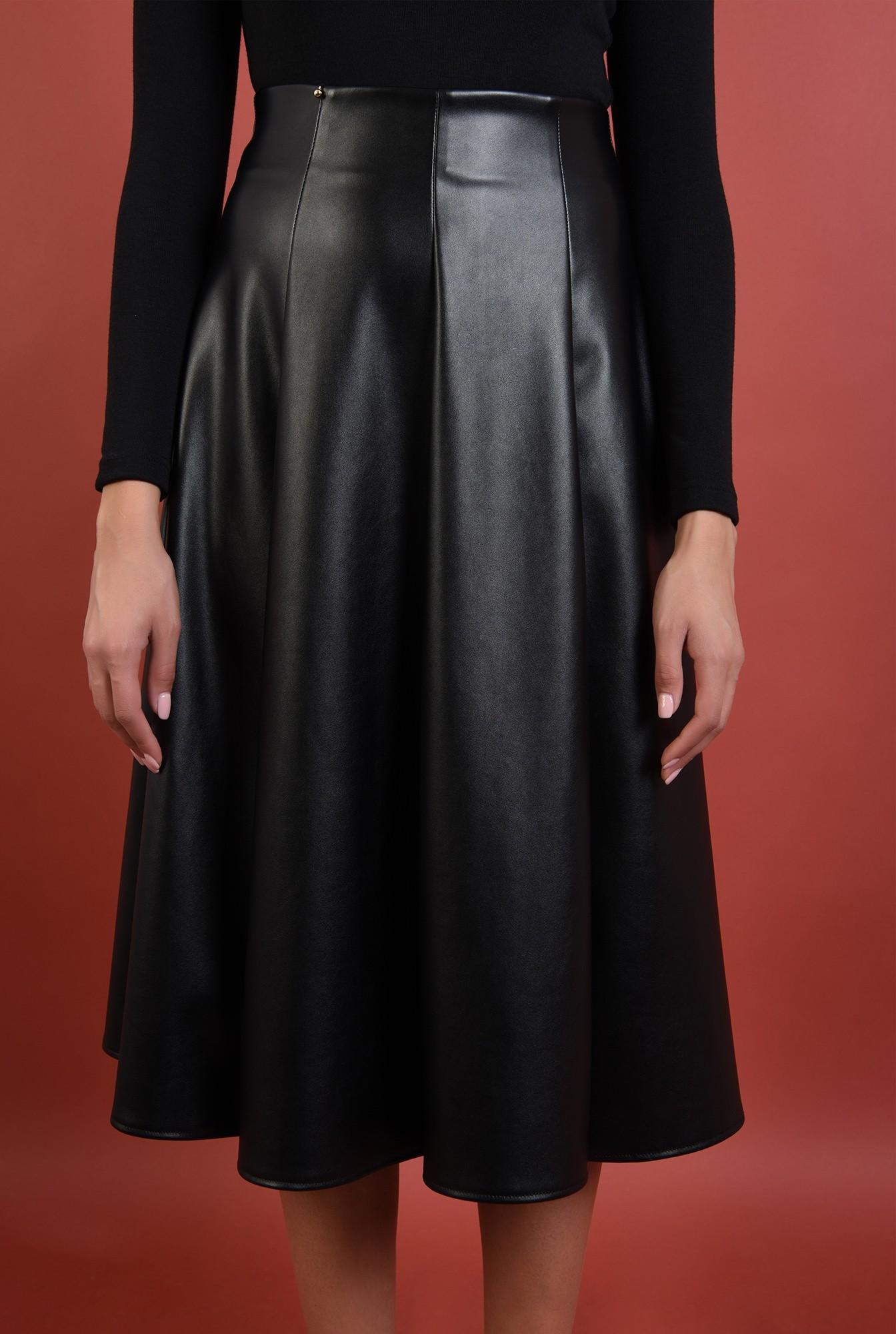 2 - fuste online, fusta neagra, midi, evazata, pliuri