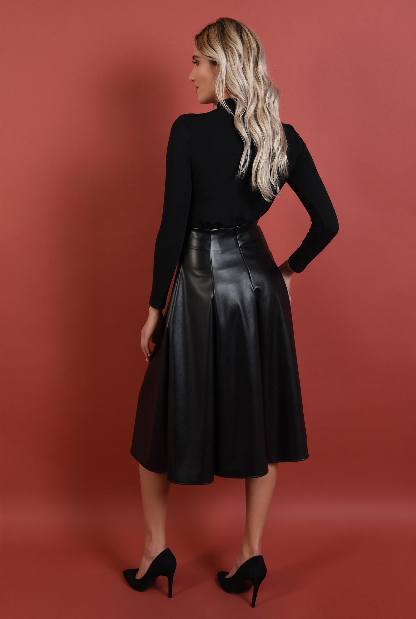 1 - fuste online, fusta neagra, midi, evazata, pliuri