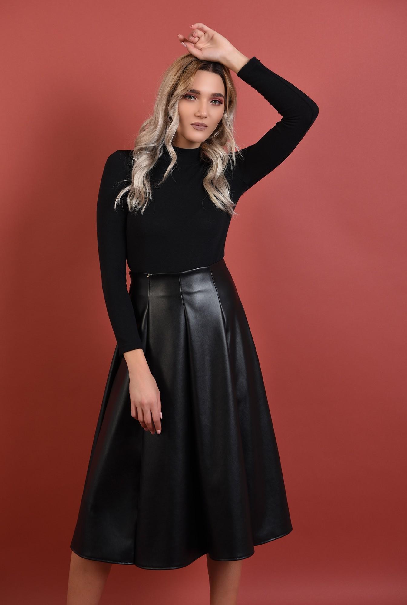 0 - fuste online, fusta neagra, midi, evazata, pliuri