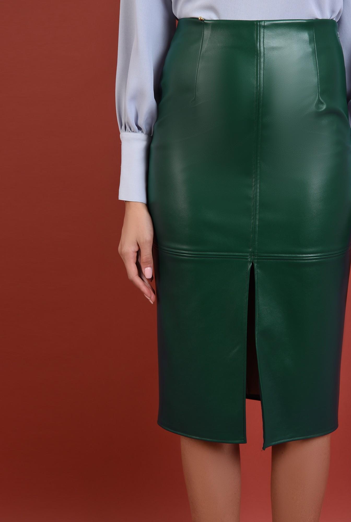 2 - 360 - fusta din piele, verde, conica, slit in fata, midi, Poema