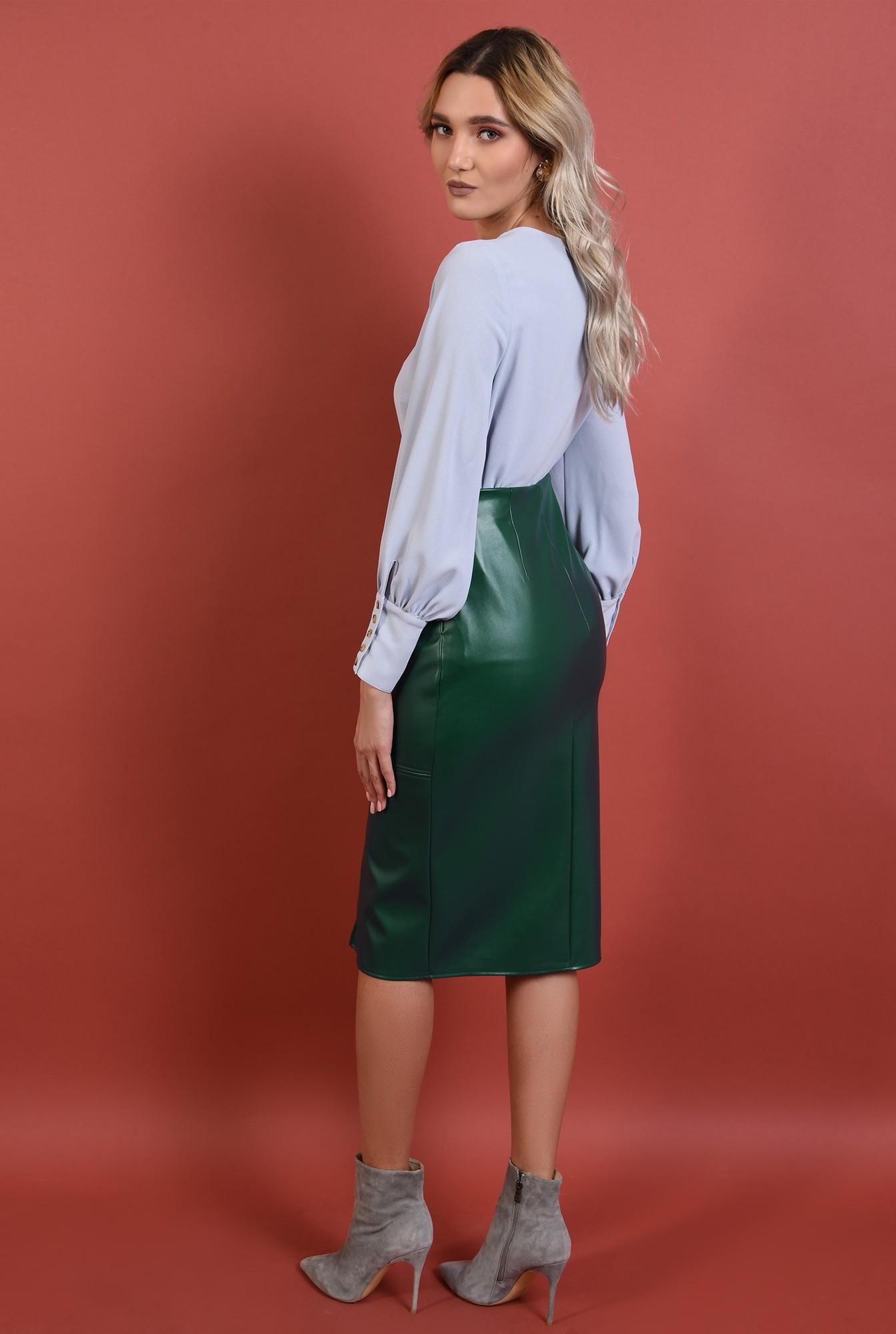 1 - 360 - fusta din piele, verde, conica, slit in fata, midi, Poema