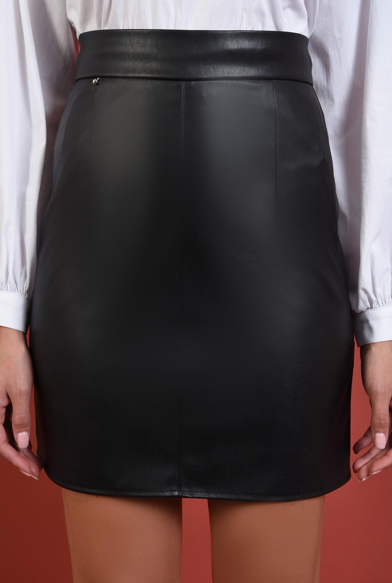 2 - fusta neagra, scurta, Poema, cu talie inalta, betelie, piele eco, Poema