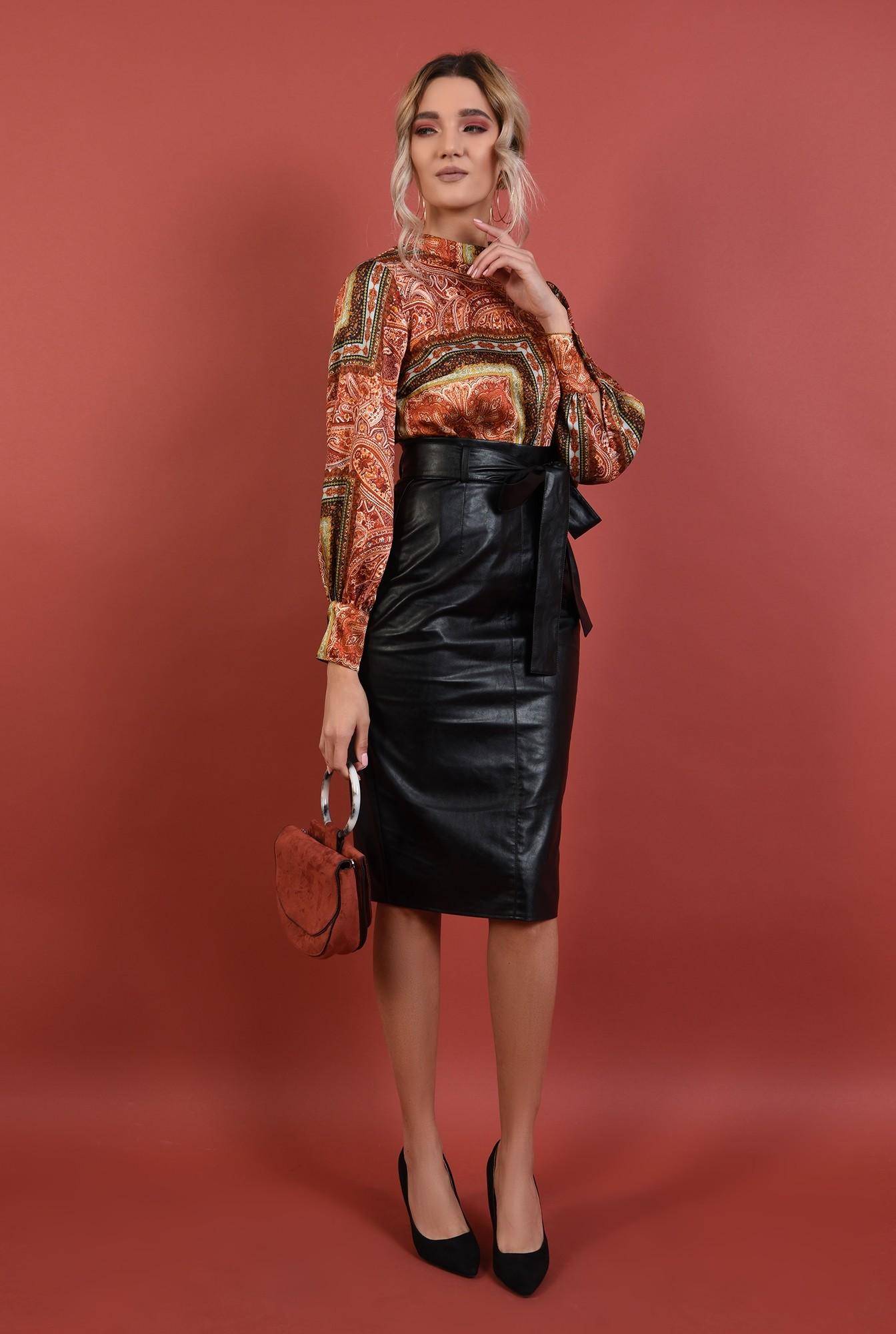 3 - fusta neagra, midi, piele ecologica, cordon, funda la talie, Poema