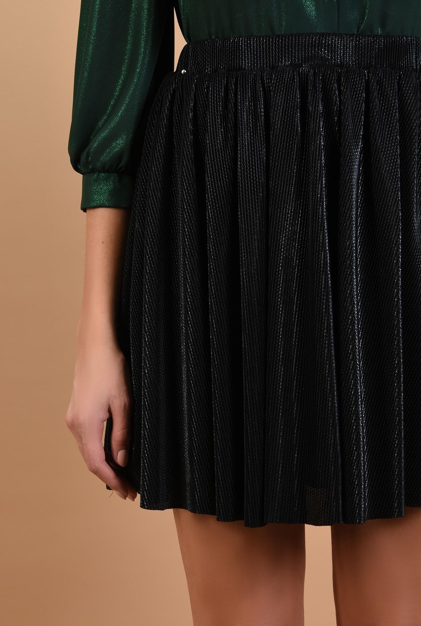 2 - fusta eleganta, plisata, lurex, neagra, talie elastica