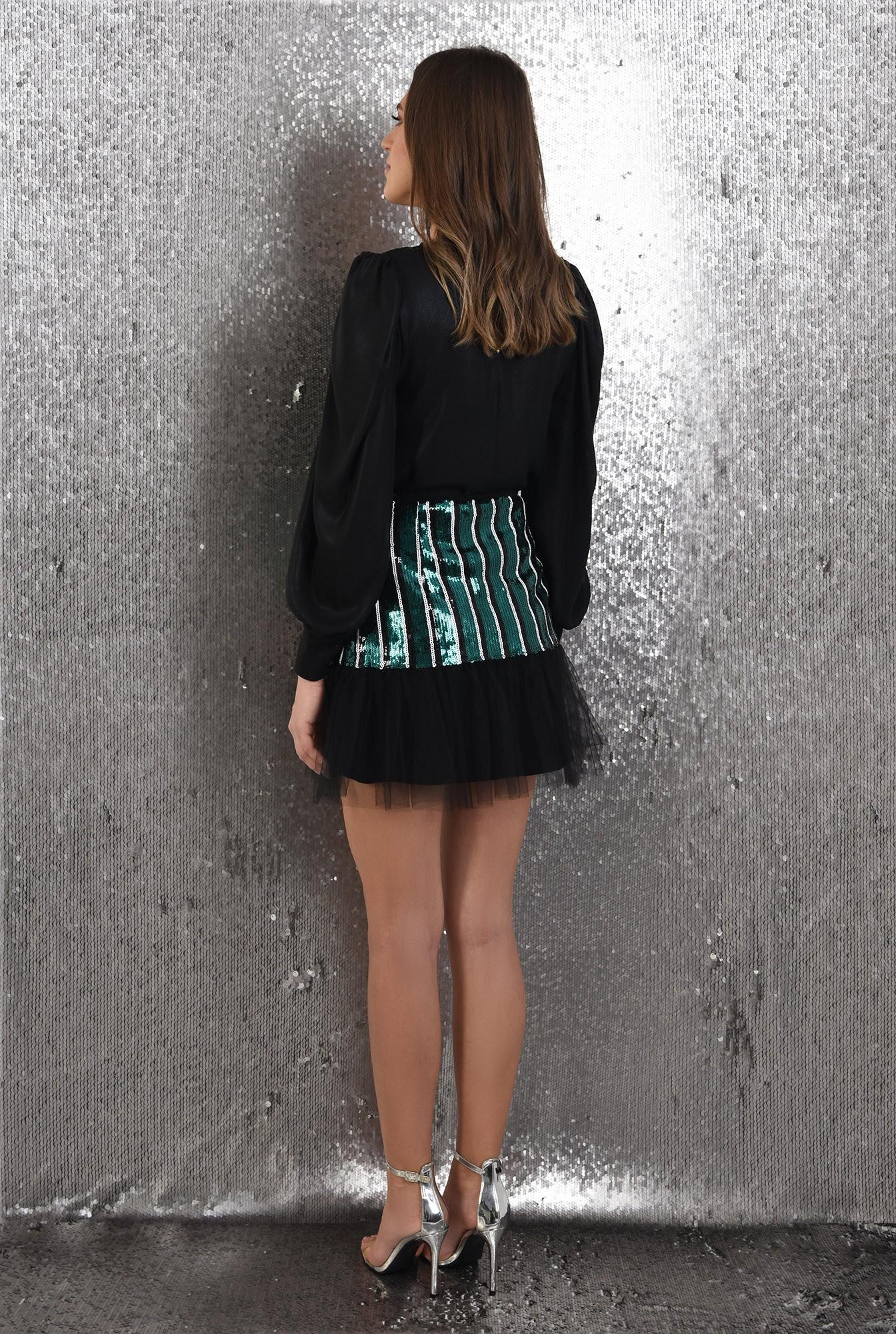 1 - 360 - fusta eleganta, cu paiete, franjuri, jupa din tul, Poema