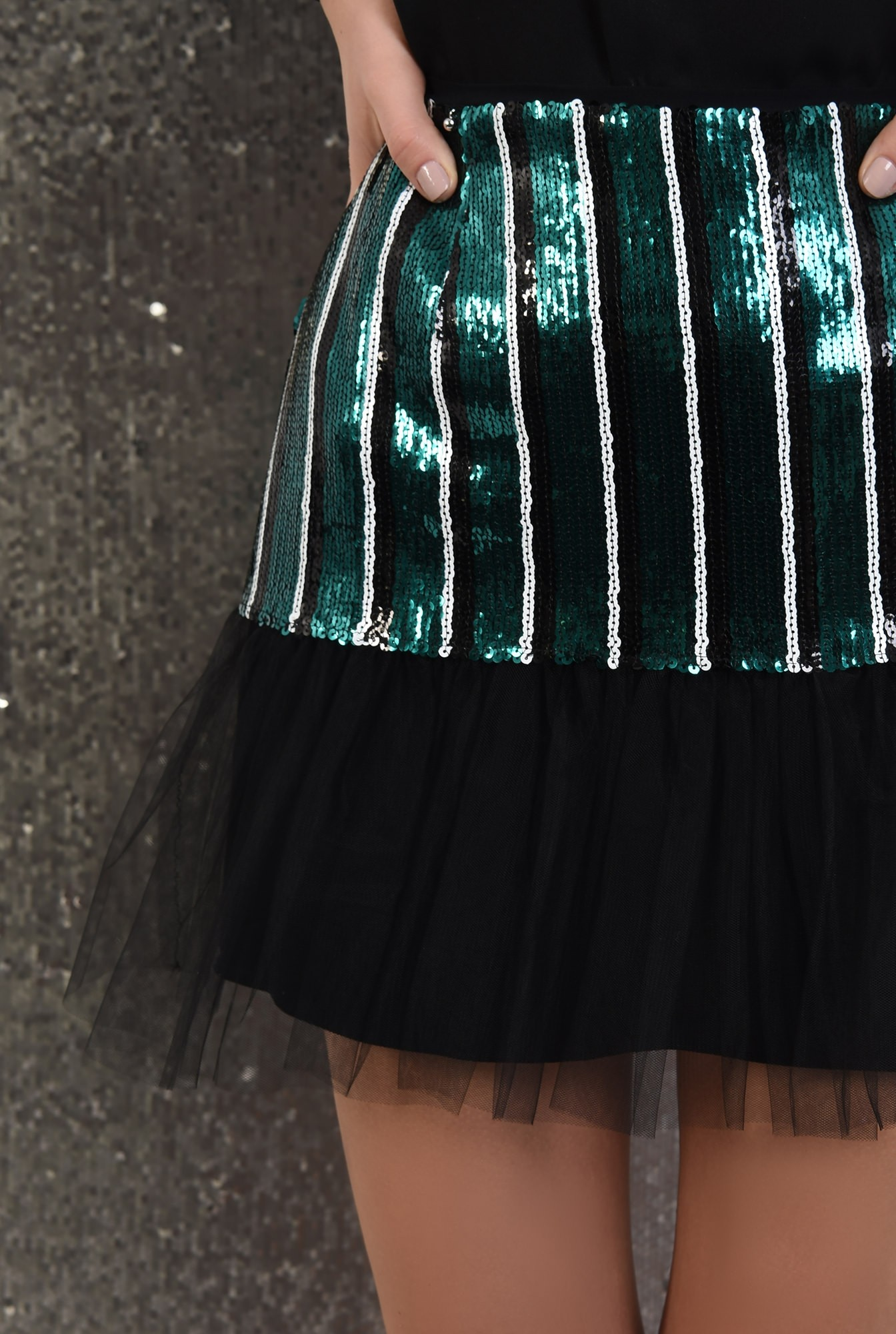 2 - 360 - fusta eleganta, cu paiete, franjuri, jupa din tul, Poema