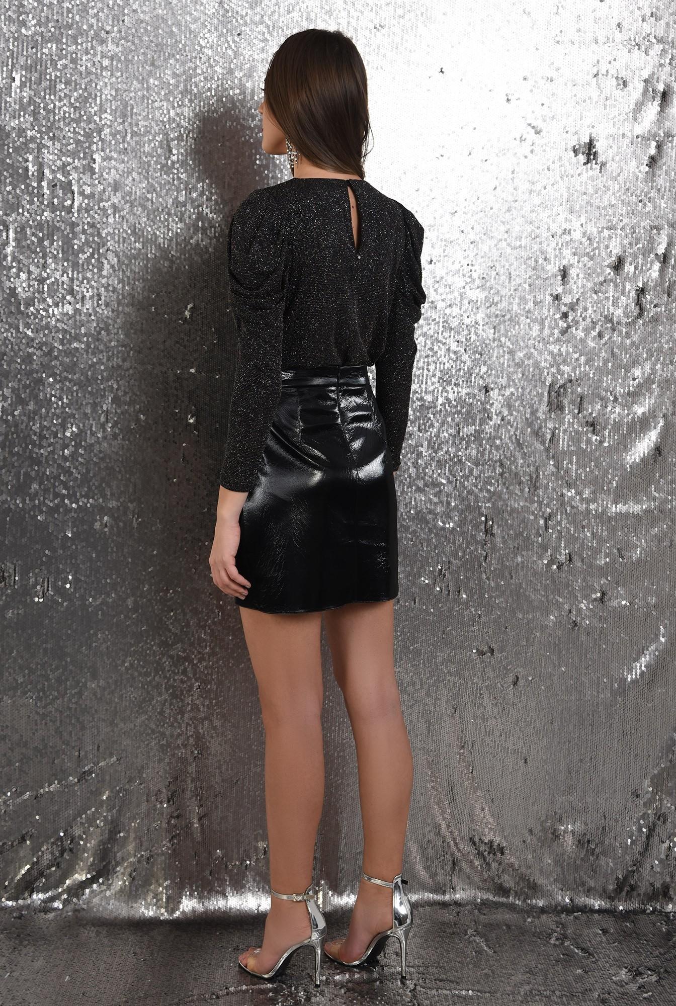1 - fusta neagra, din vinil, scurta, lacuita, talie inalta, de ocazie, Poema