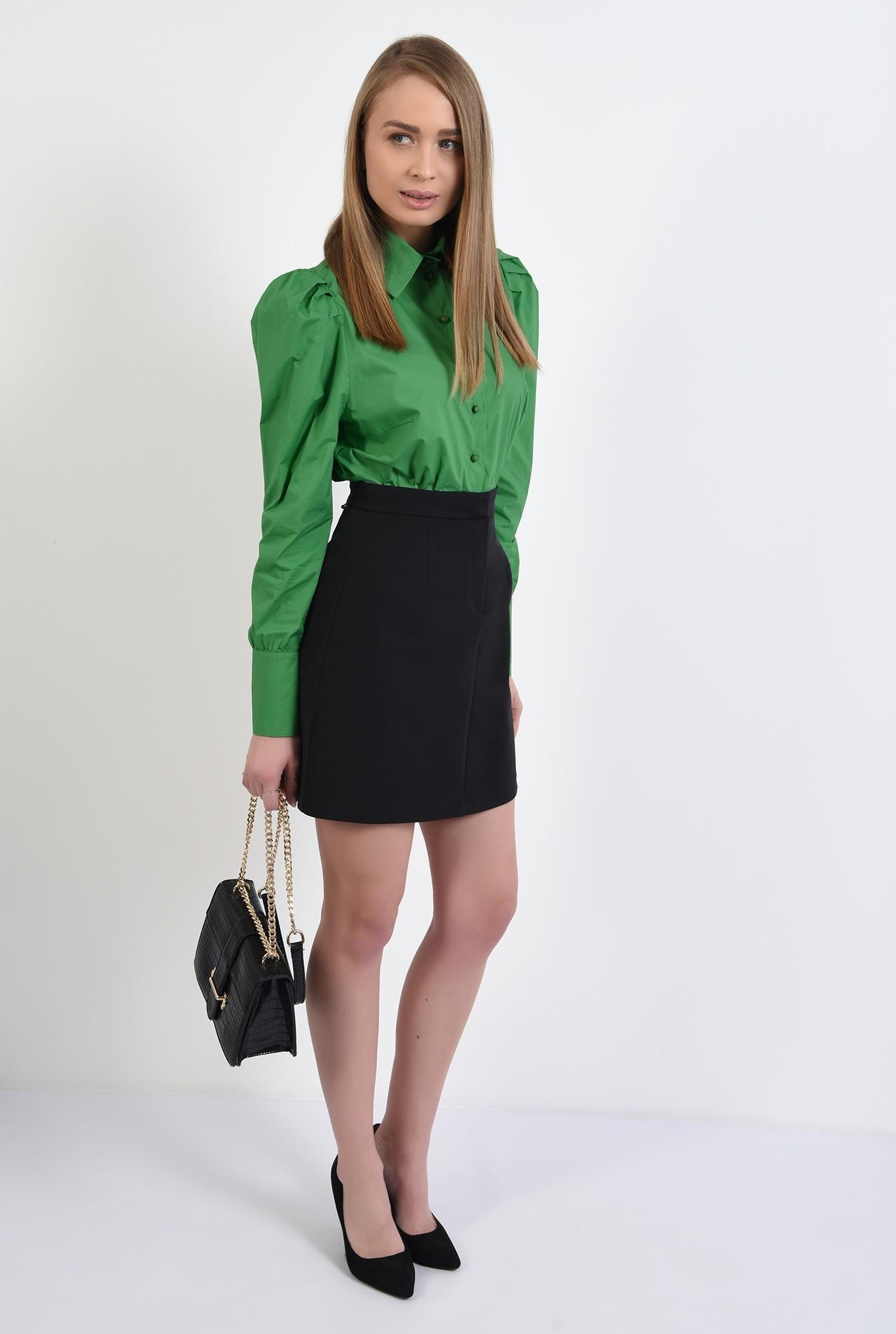 3 -  fusta mini, neagra, dreapta, cu talie inalta, fermoar in fata