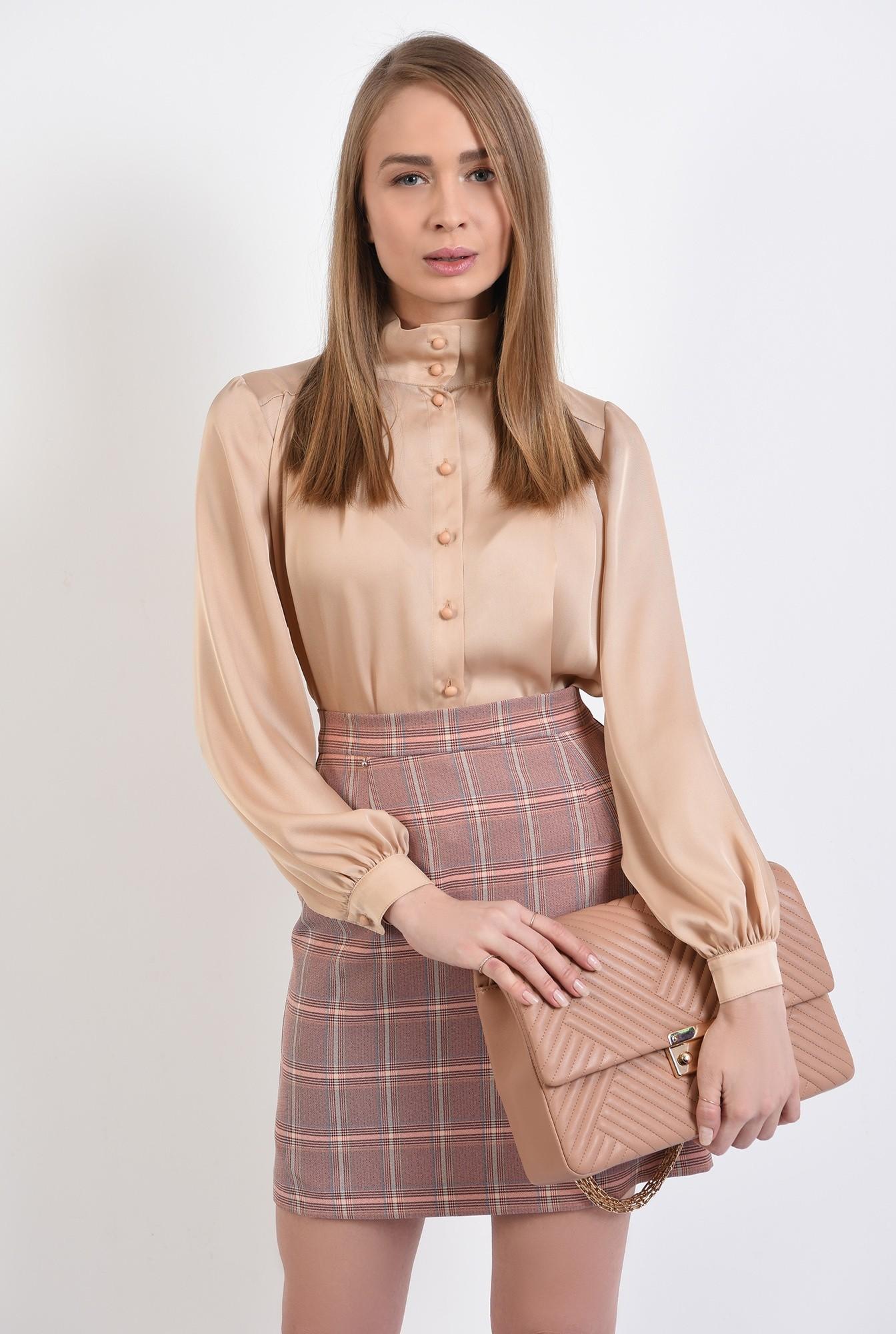 2 -  fusta in carouri, nude, peach, mini, cu talie inalta, fusta office