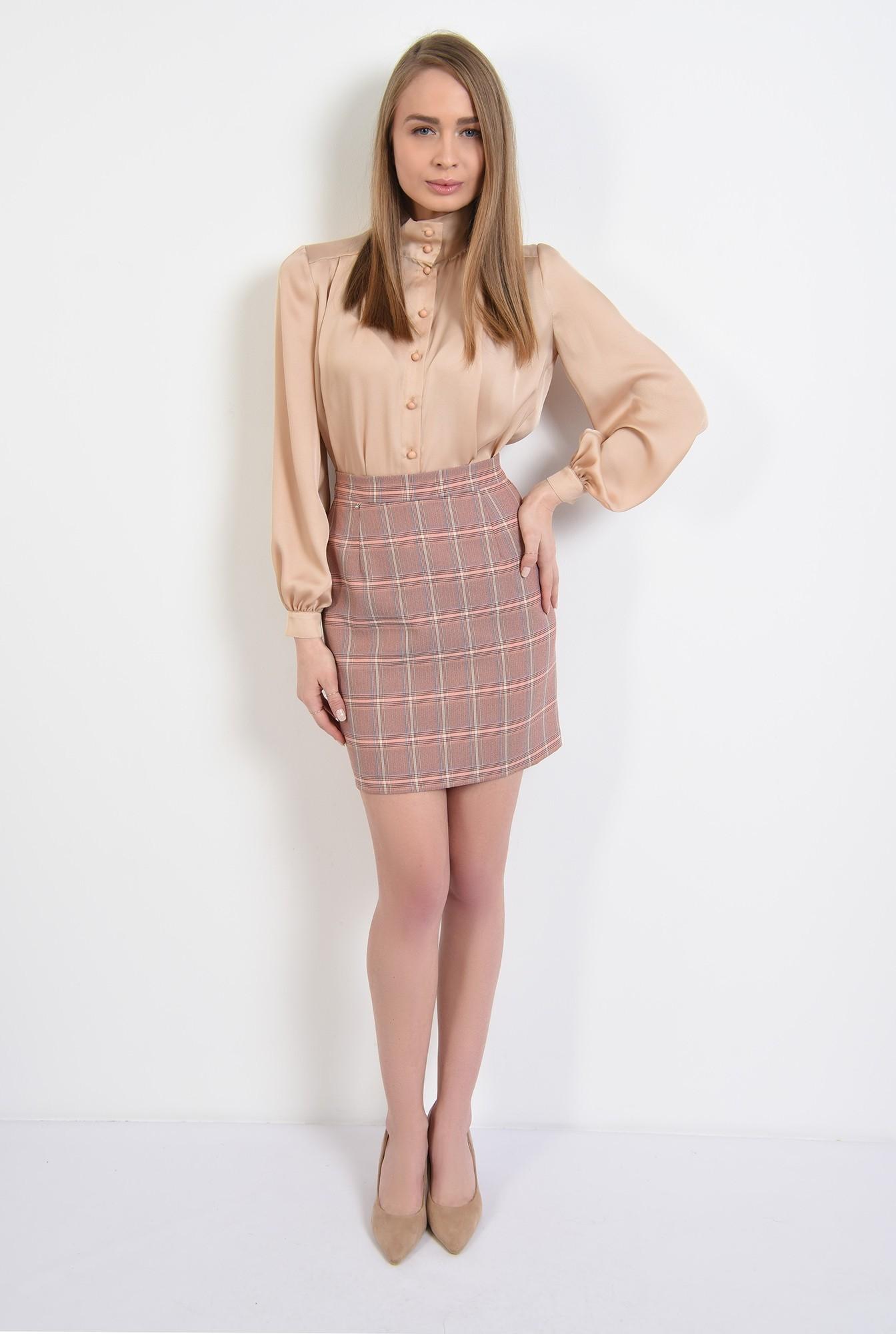 3 -  fusta in carouri, nude, peach, mini, cu talie inalta, fusta office