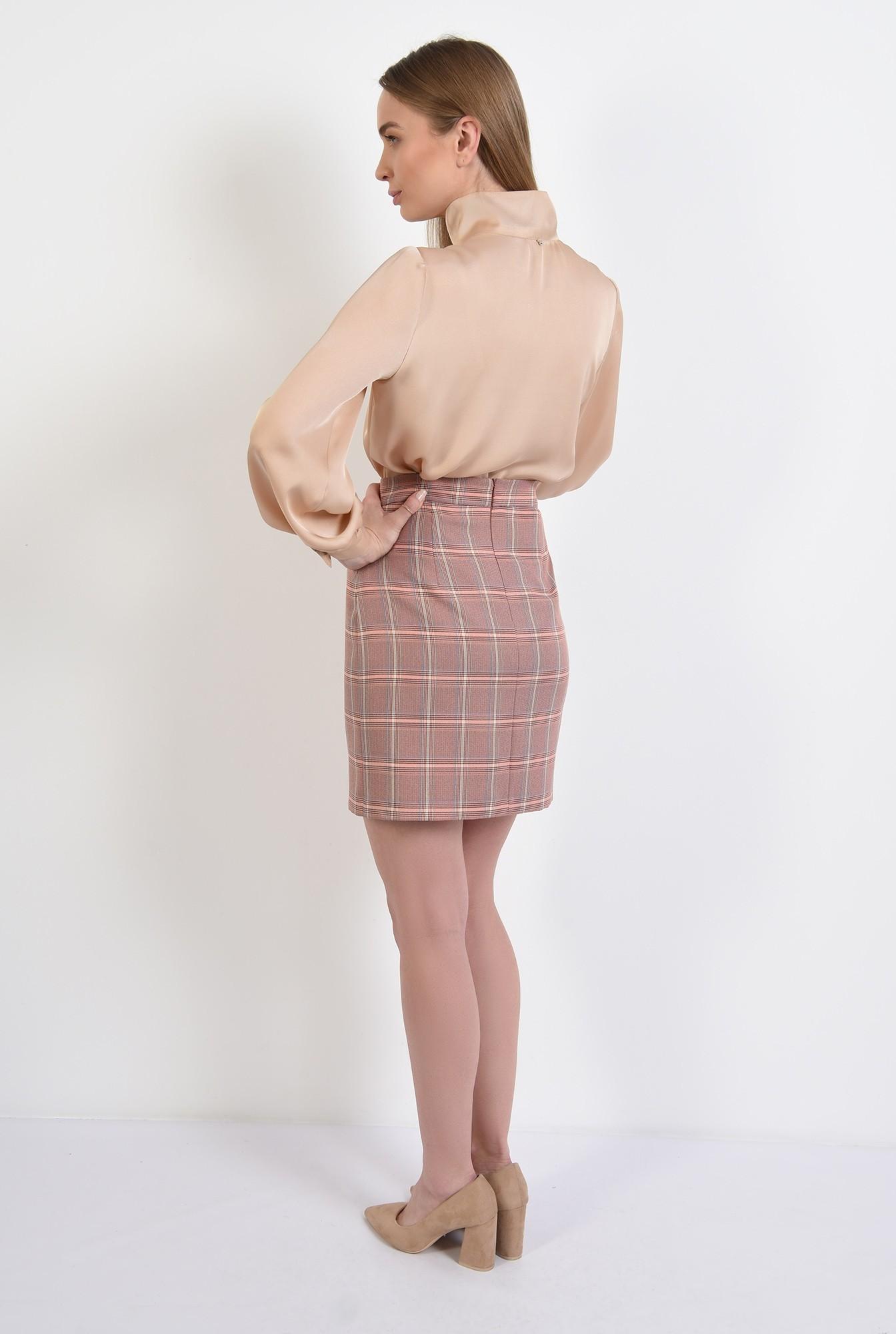 1 -  fusta in carouri, nude, peach, mini, cu talie inalta, fusta office