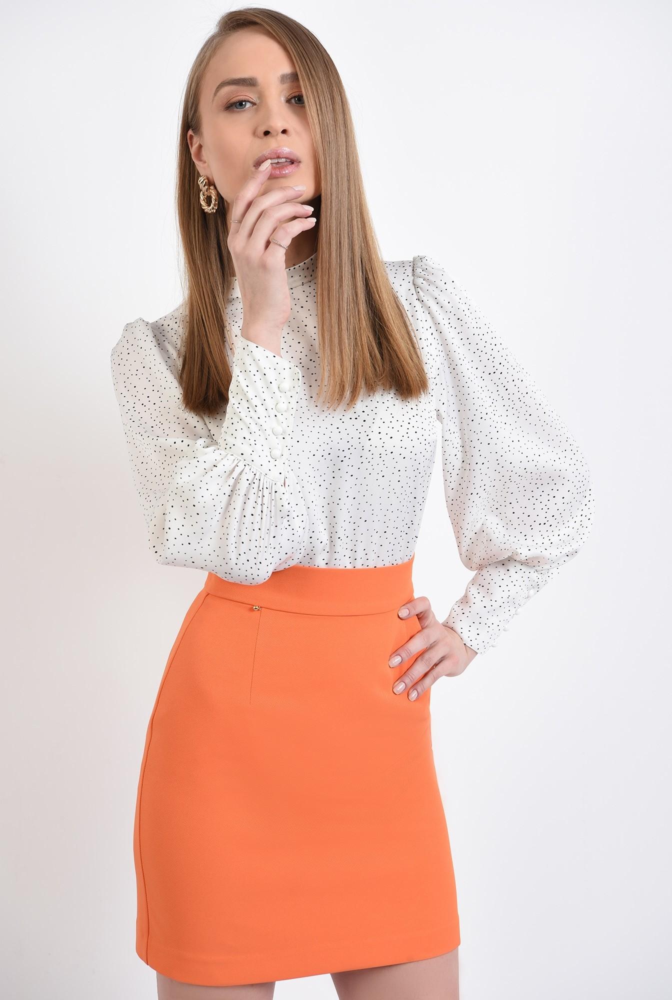 2 -  fusta orange, mini, dreapta, cu talie inalta, fermoar ascuns