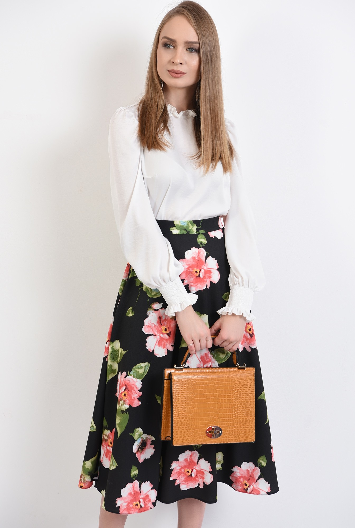 0 - 360 - fusta casual, cu flori, midi, talie inalta, fusta de primavara