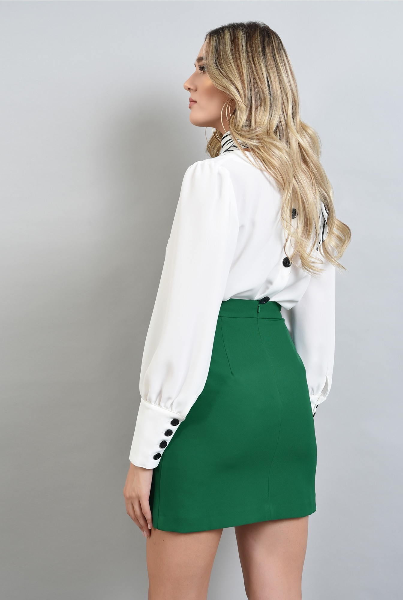 1 - fusta cu talie medie, mini, verde, Poema