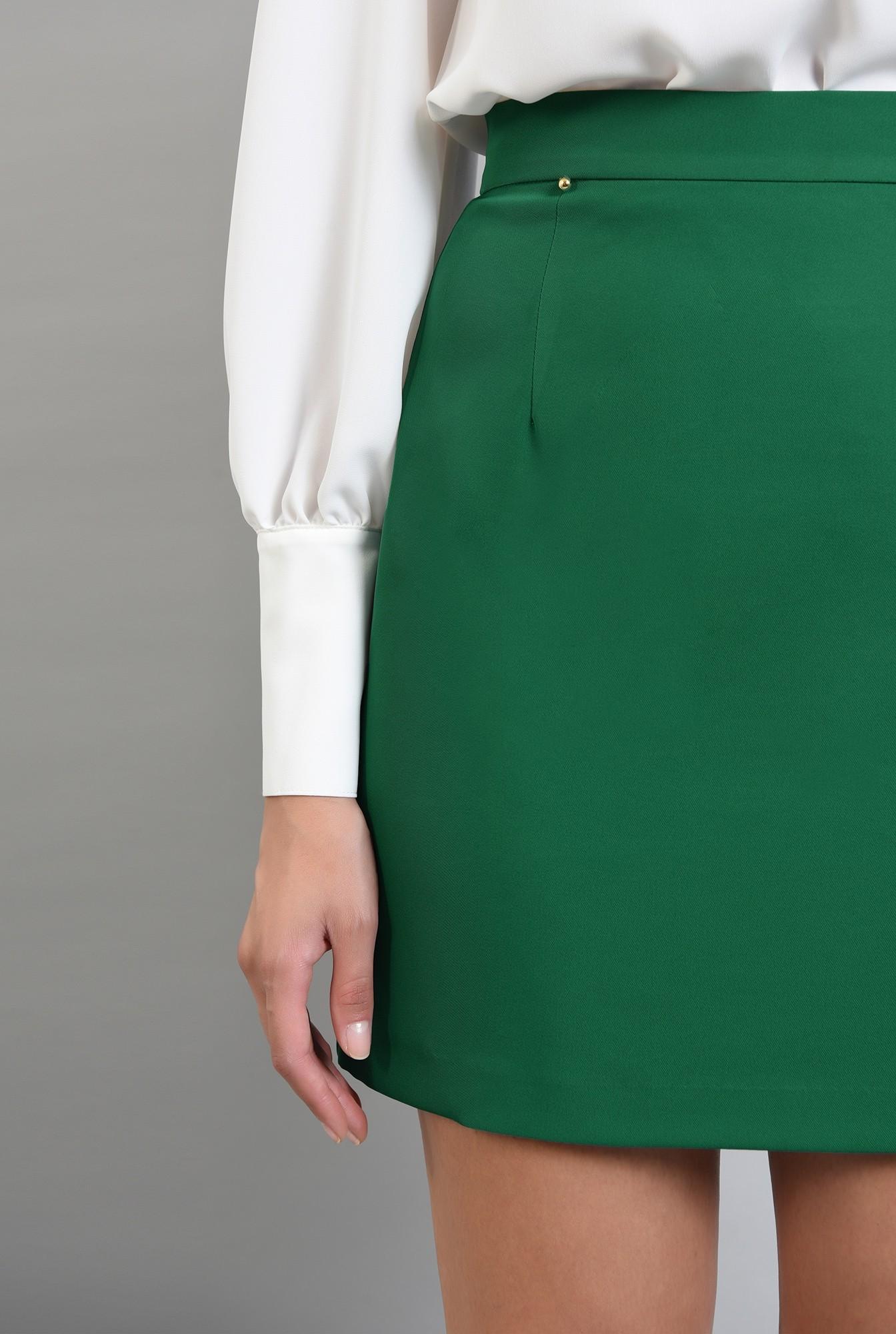 2 - fusta cu talie medie, mini, verde, Poema