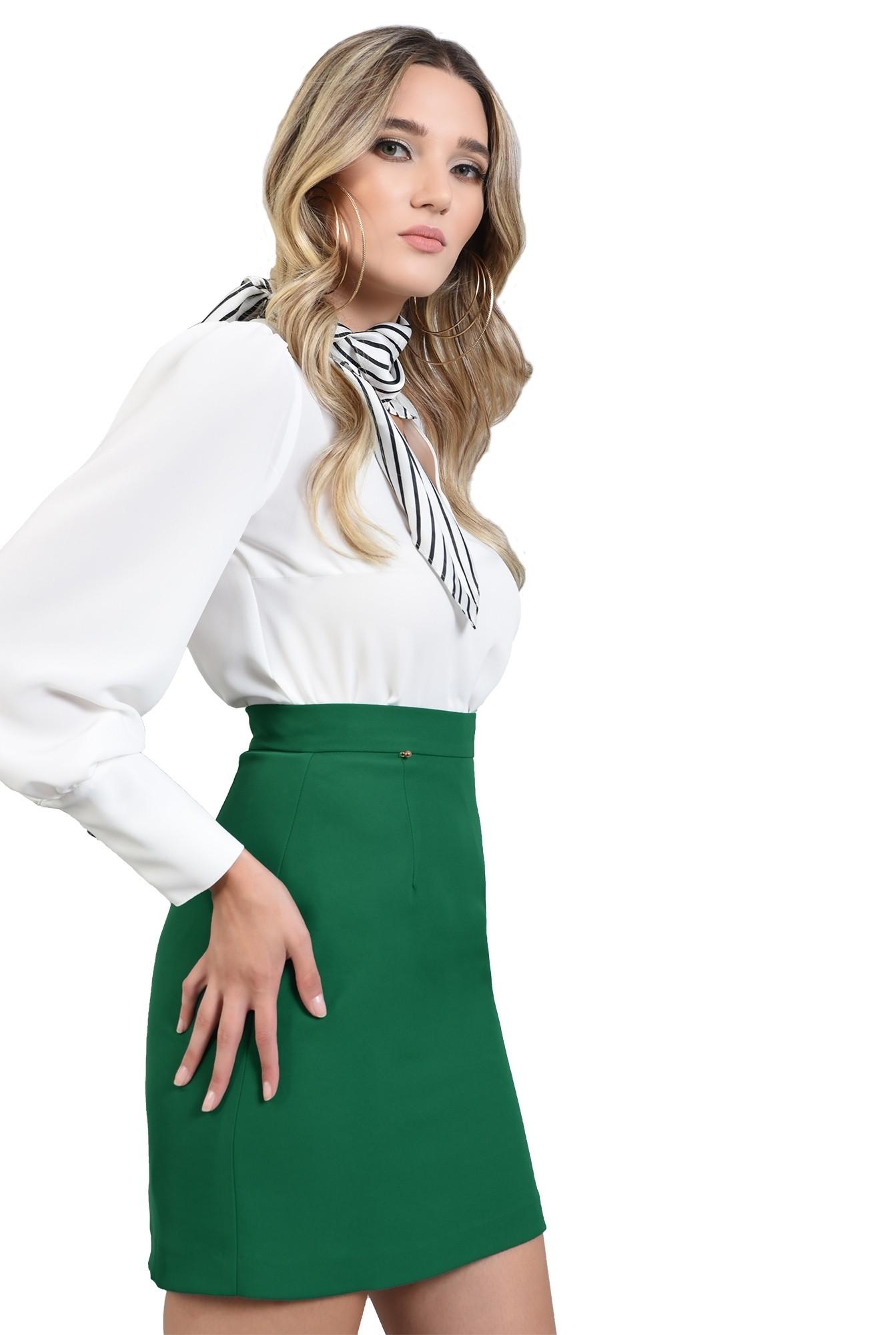 3 - fusta cu talie medie, mini, verde, Poema
