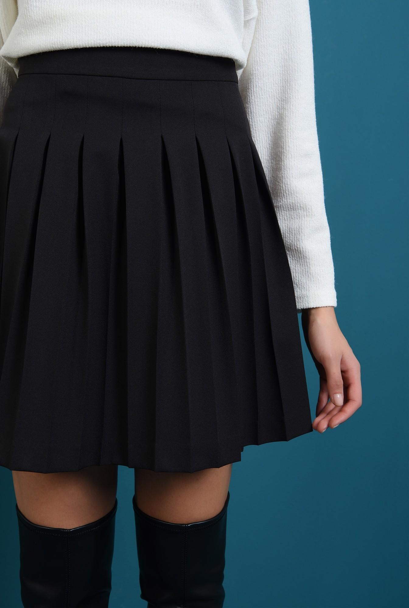 2 - fusta neagra,mini, cu pliuri, cu talie inalta
