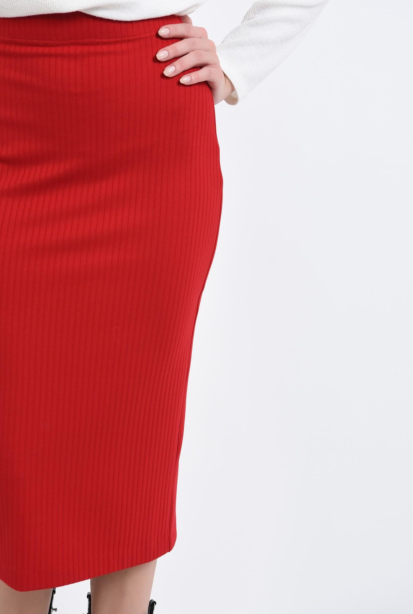 2 - fusta tricotata, midi, cu talie elastica