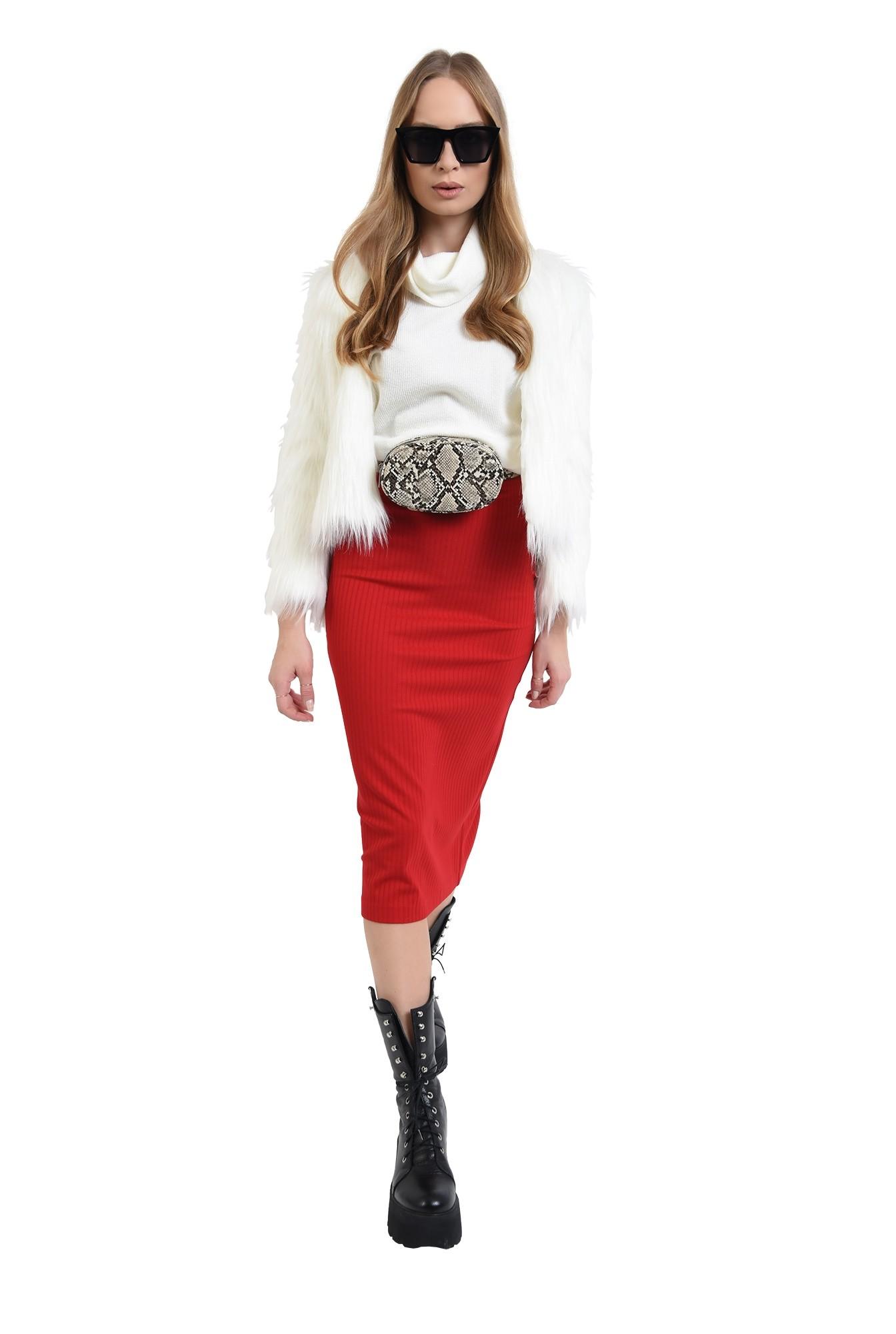 3 - fusta tricotata, midi, cu talie elastica