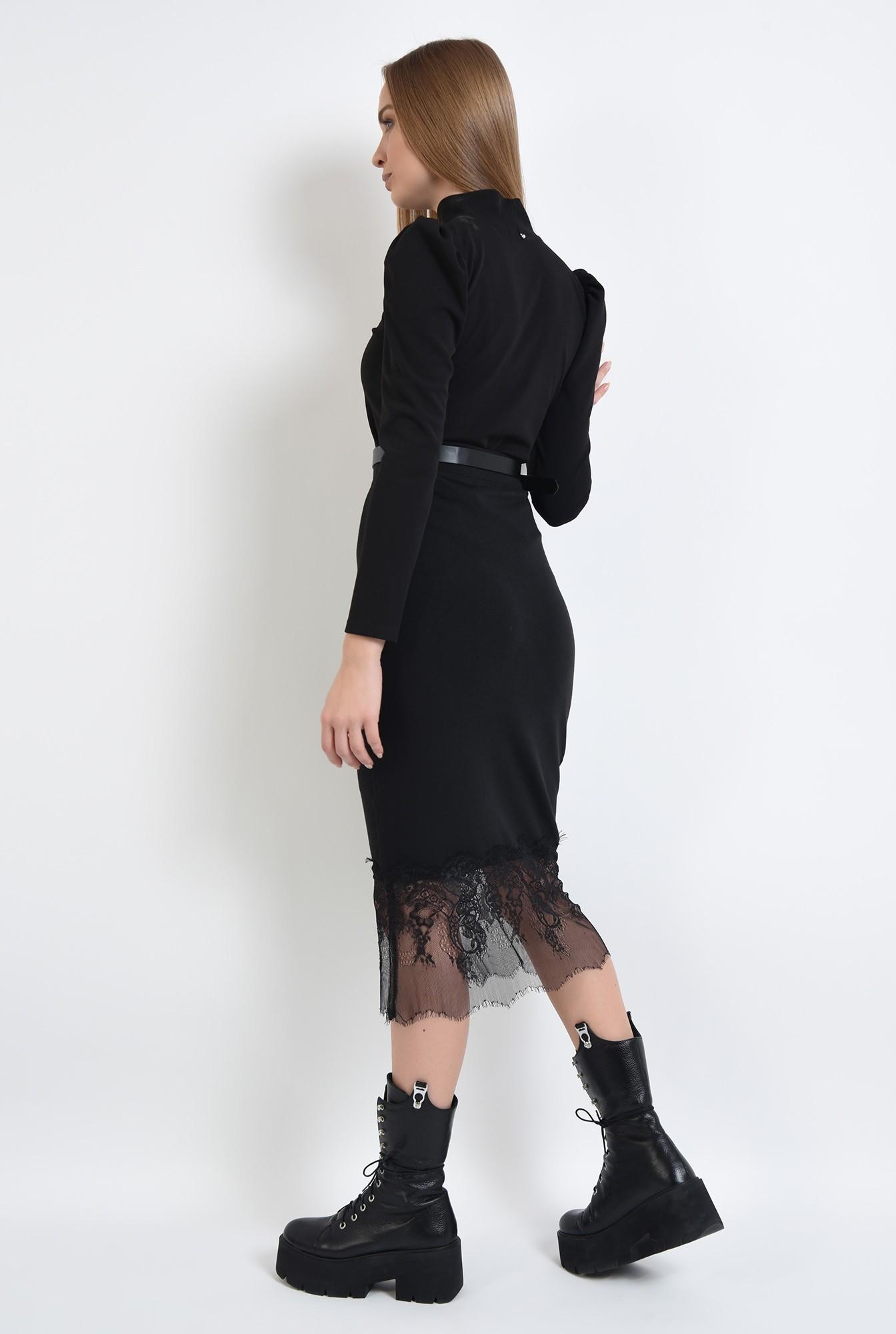 1 - fusta neagra, midi, cu talie inalta