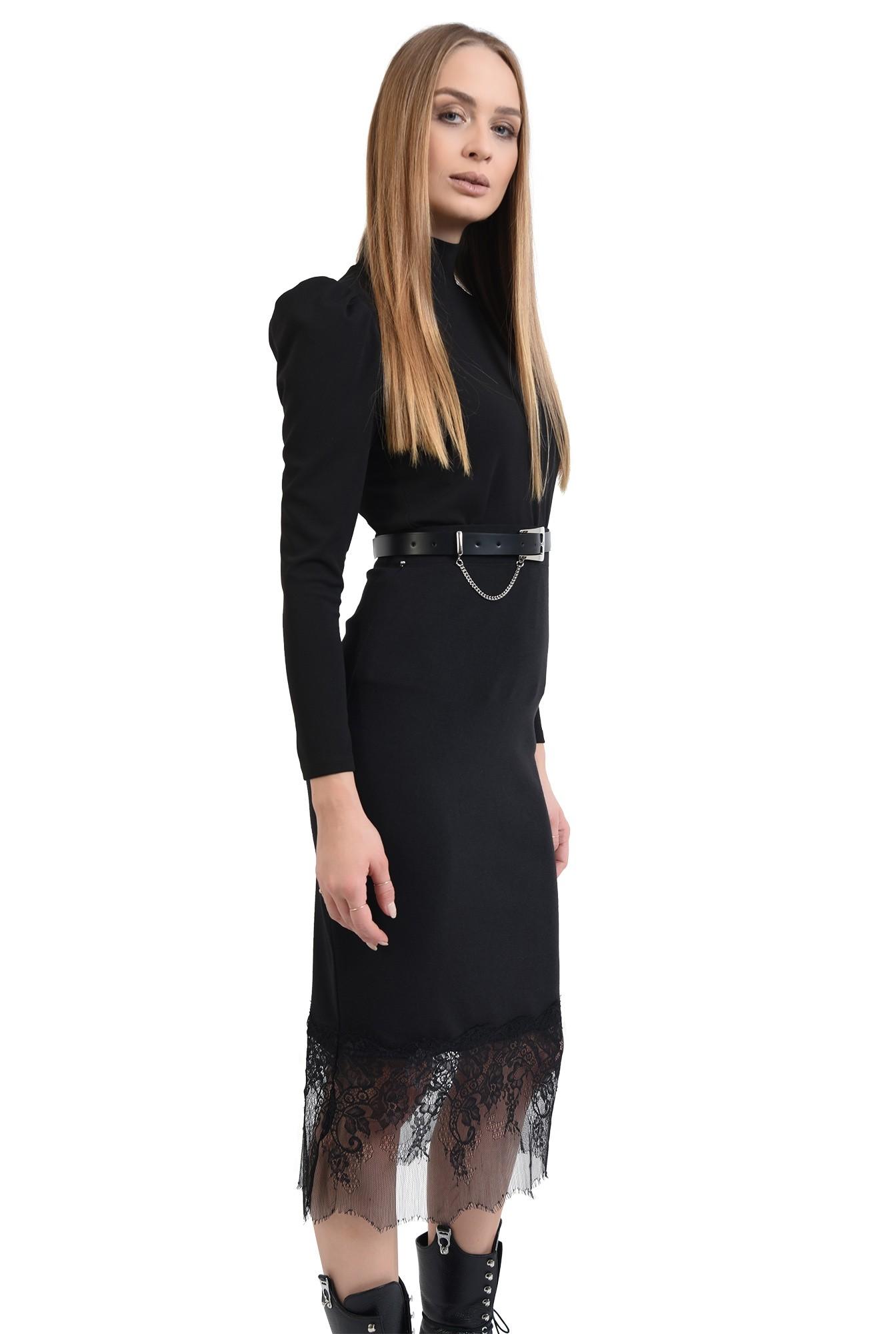 3 - 360 - fusta neagra, midi, cu talie inalta