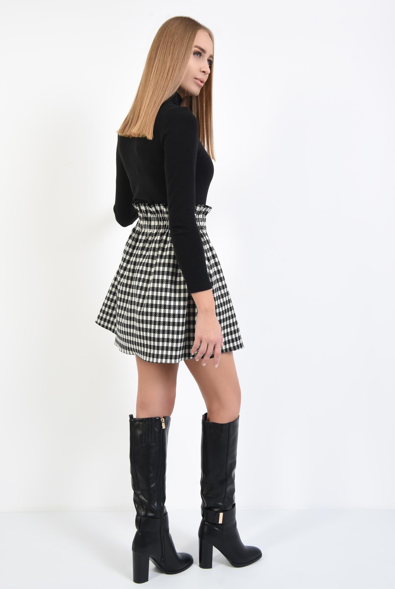 1 - fusta de zi, carouri alb-negru, mini, buzunare