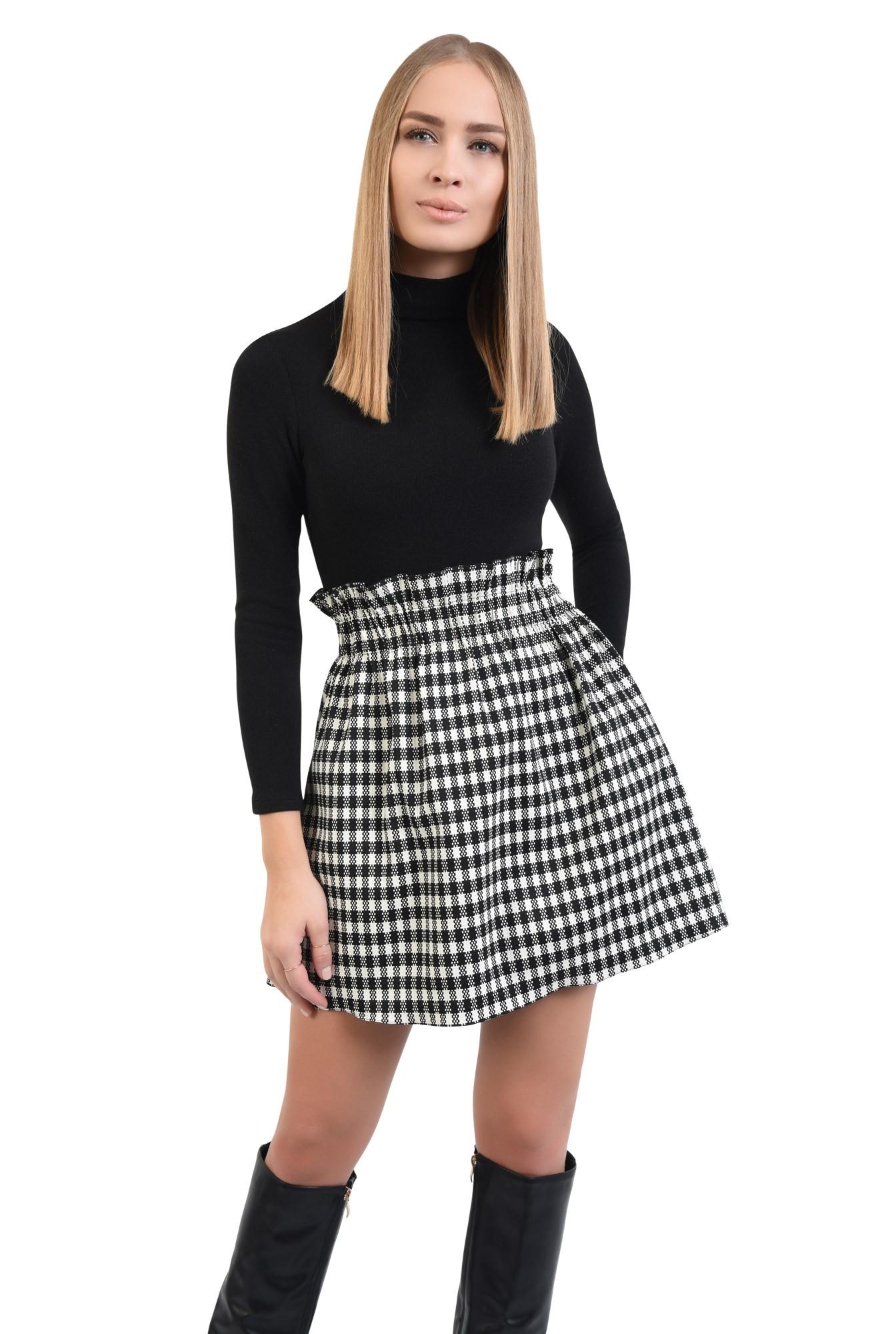 0 - fusta de zi, carouri alb-negru, mini, buzunare