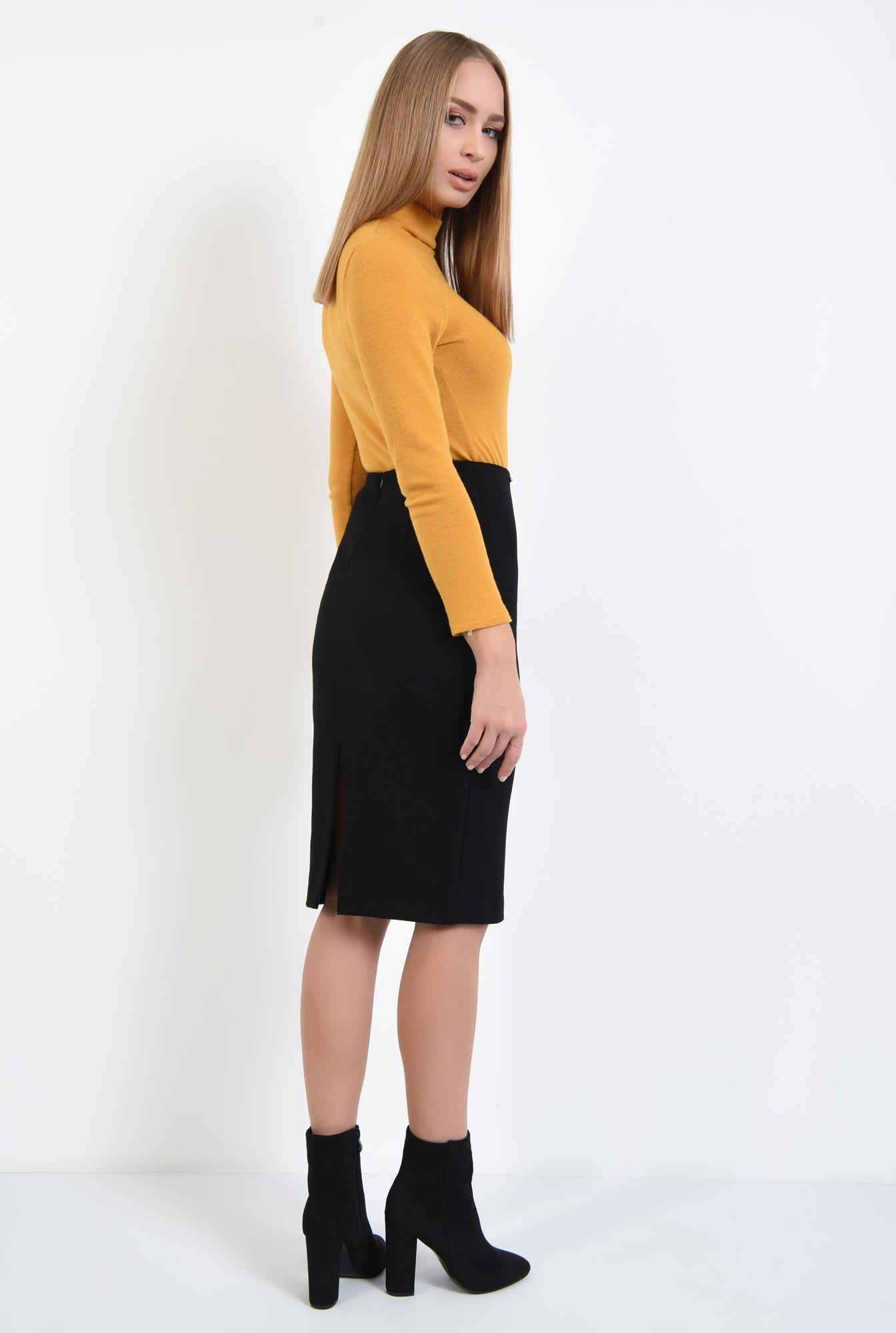 1 - fusta casual, din tricot, talie fara betelie, lungime midi