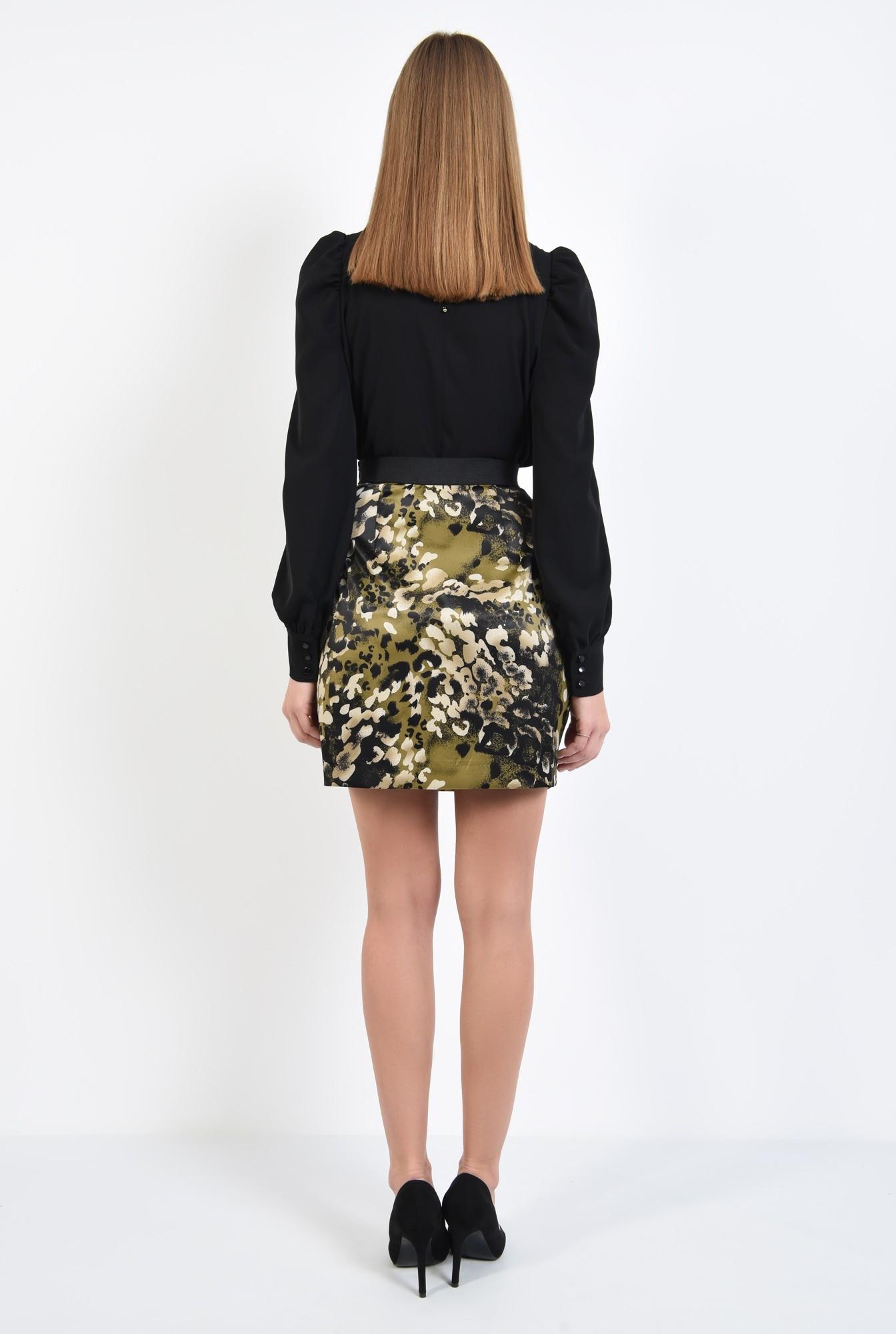 1 - fusta eleganta, din satin, cu print, kaki, usor drapata