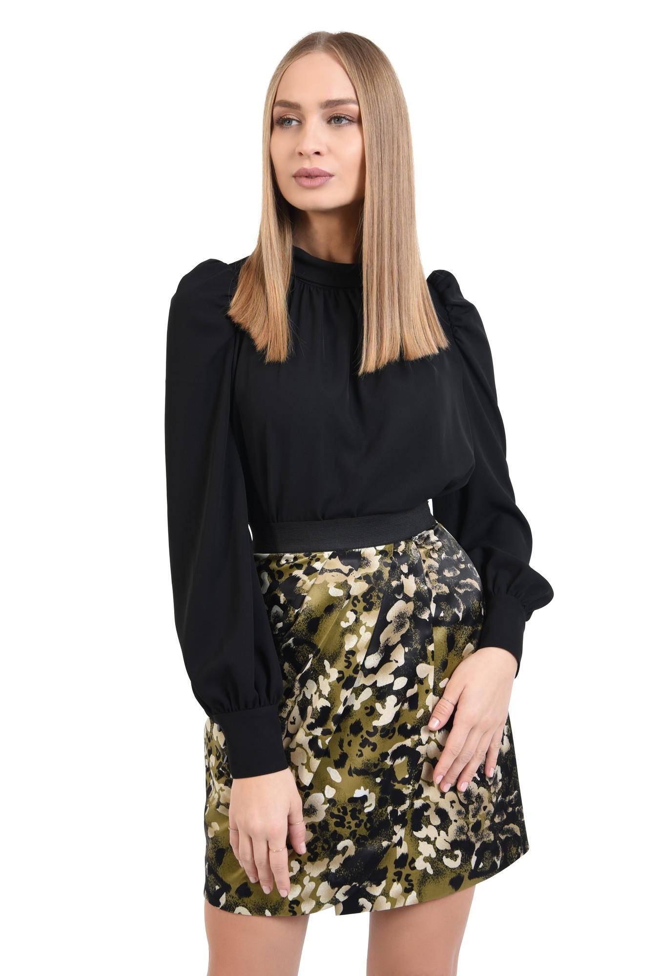 0 - fusta eleganta, din satin, cu print, kaki, usor drapata
