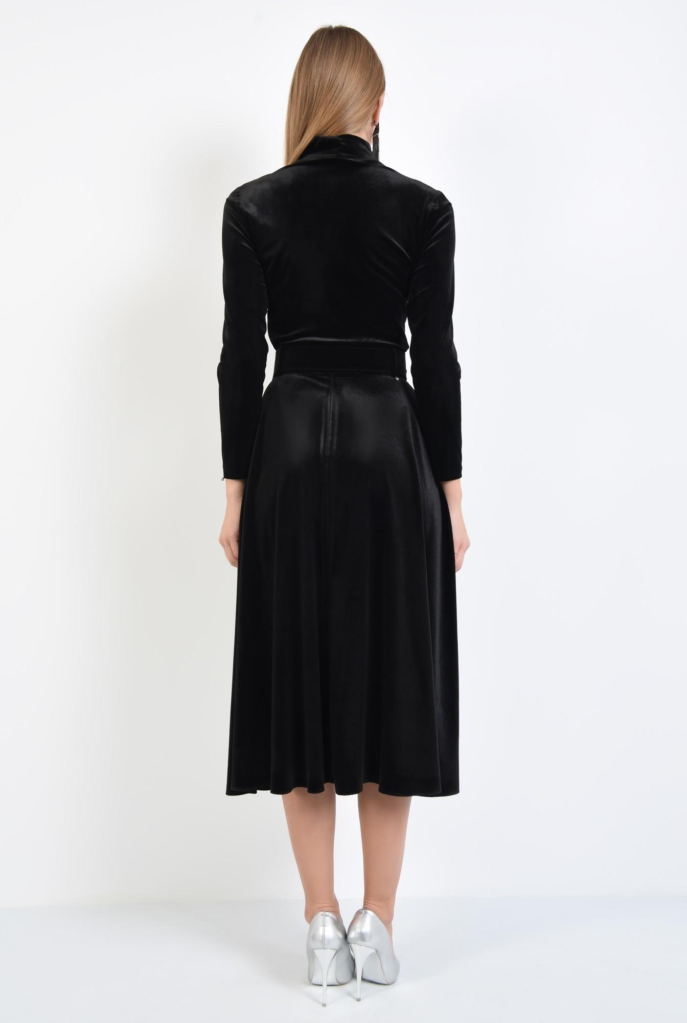 1 - fusta eleganta, neagra, midi, clos, cu centura
