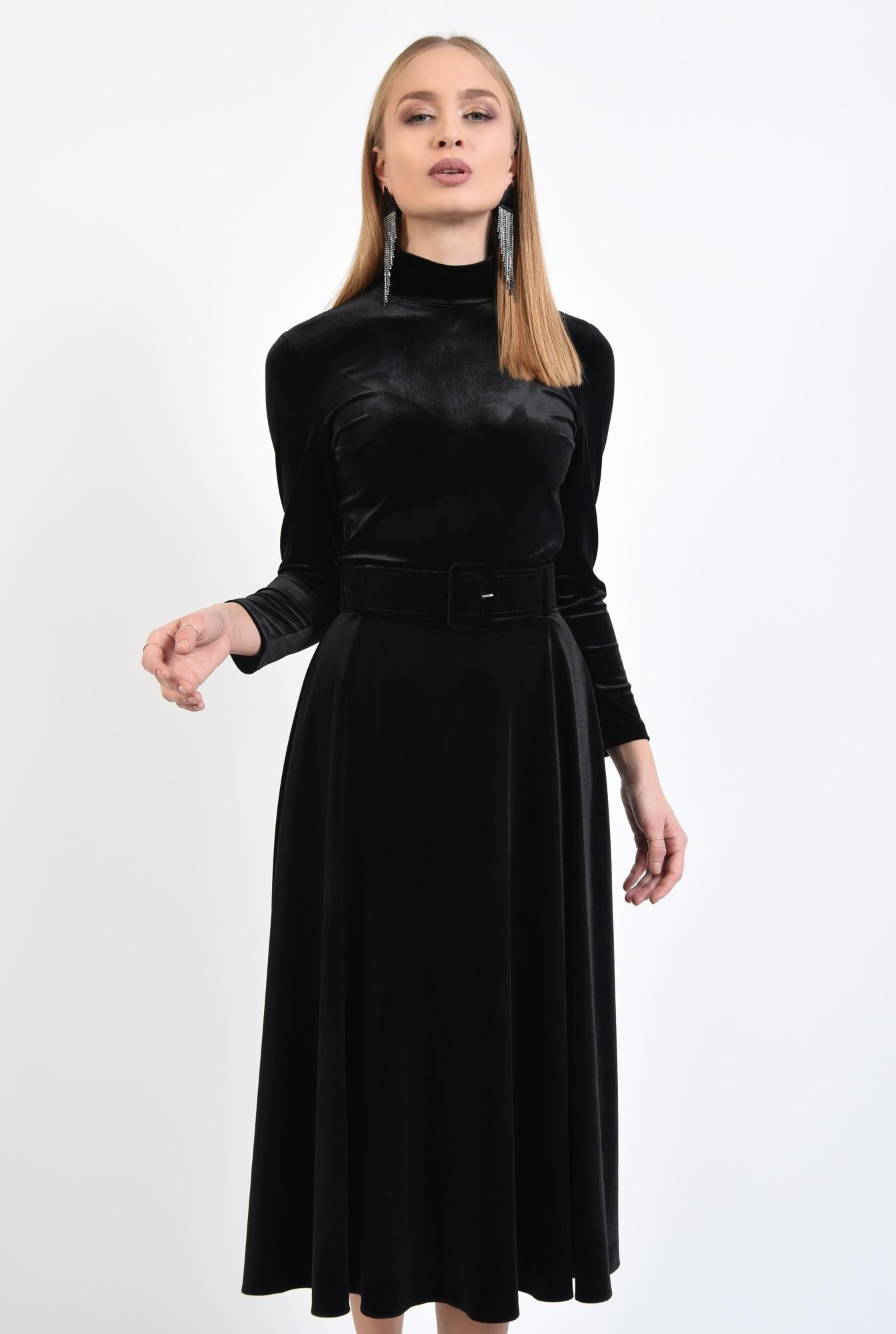 2 - fusta eleganta, neagra, midi, clos, cu centura
