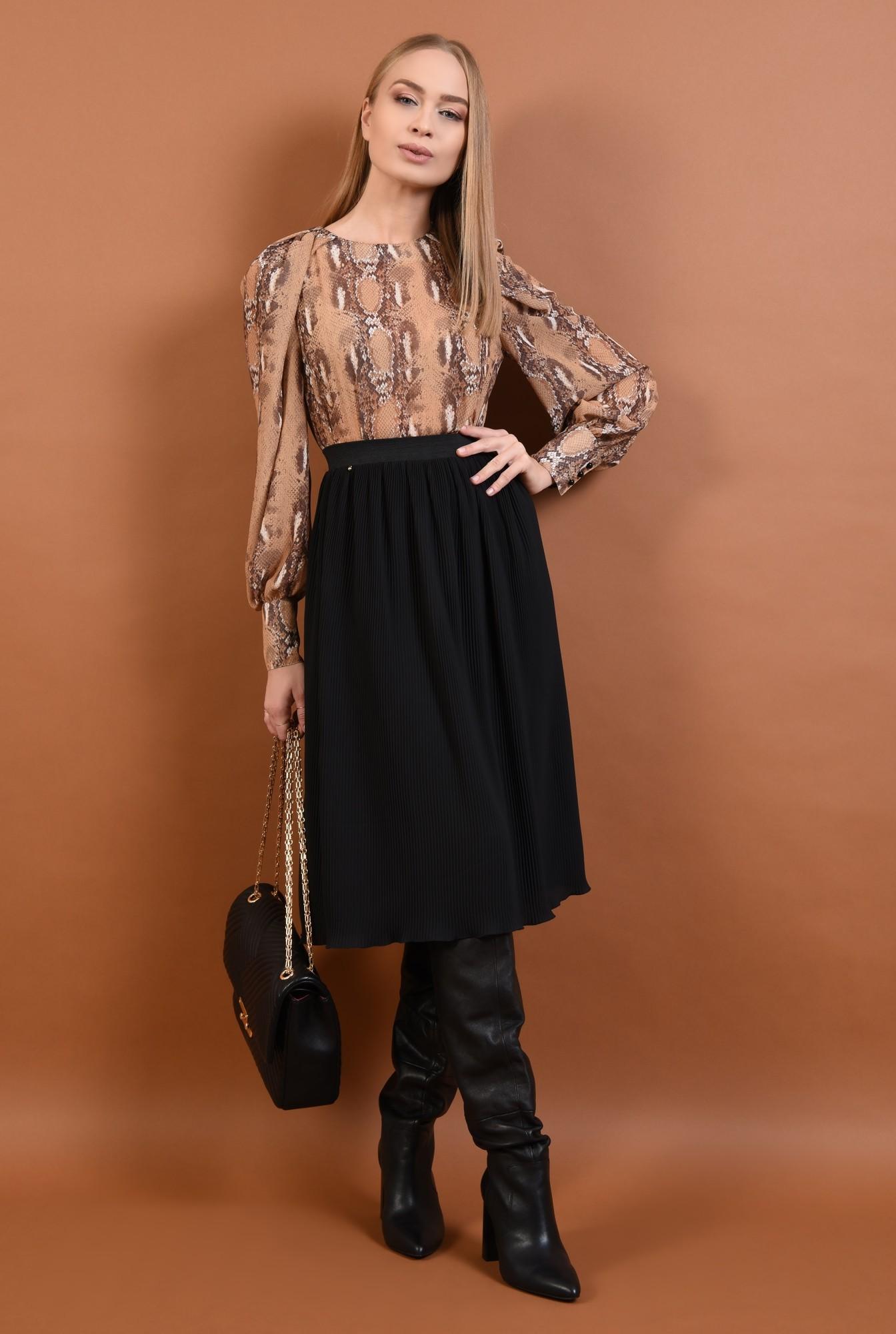 3 - fusta casual, cu pliseuri, neagra, talie inalta