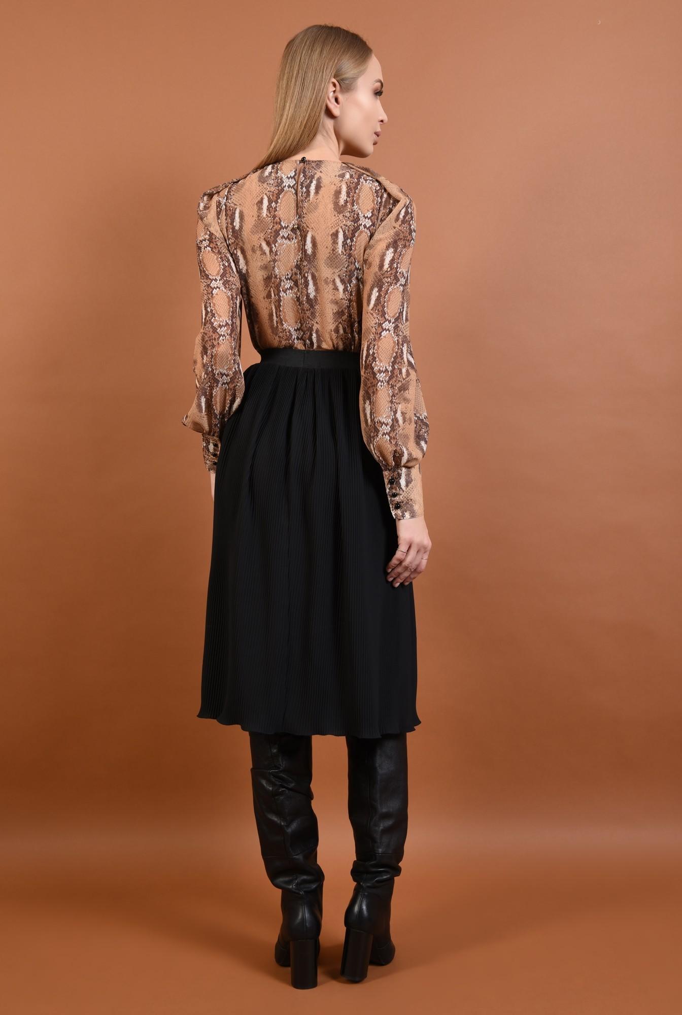 1 - fusta casual, cu pliseuri, neagra, talie inalta