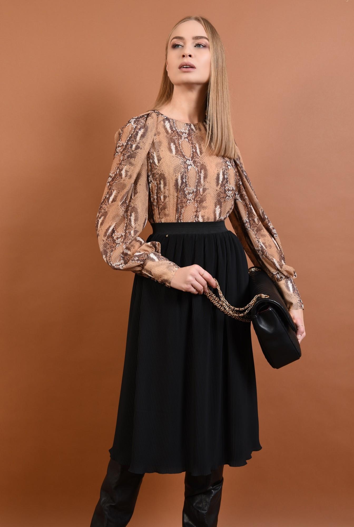 0 - fusta casual, cu pliseuri, neagra, talie inalta